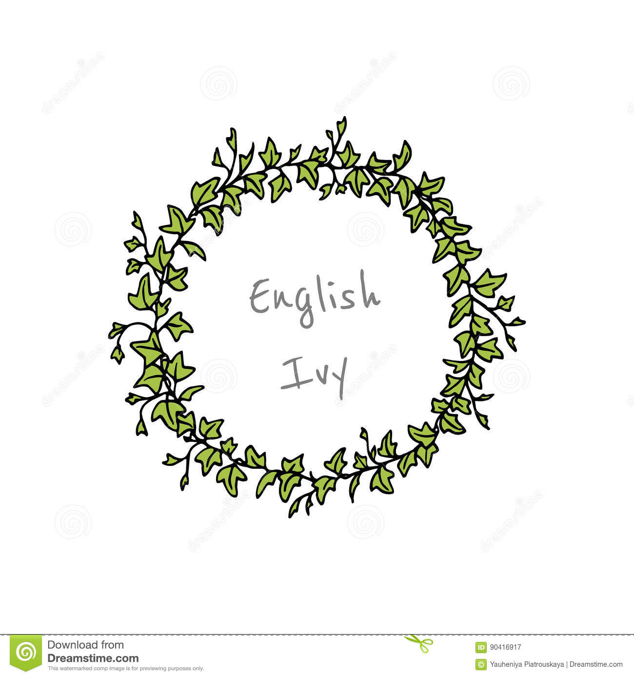 English Ivy Wreath Stock Vector Illustration Of Frame 90416917