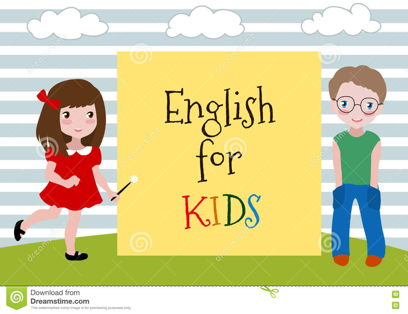 English For Kids. Vector Illustration Of The Two Kids Learning ...