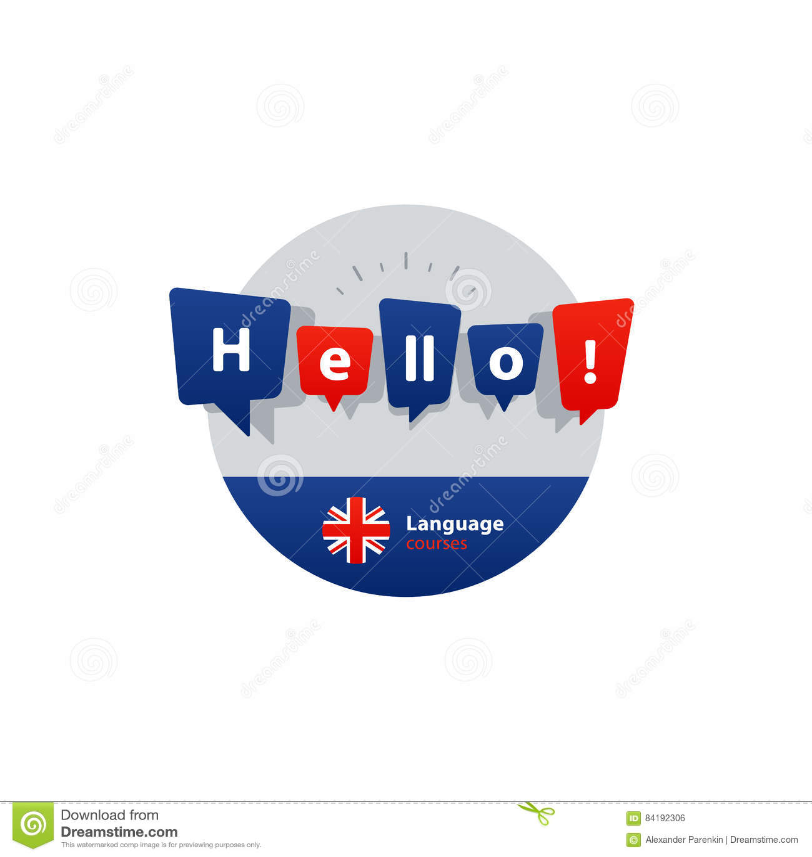 English language courses advertising concept. Fluent speaking foreign language