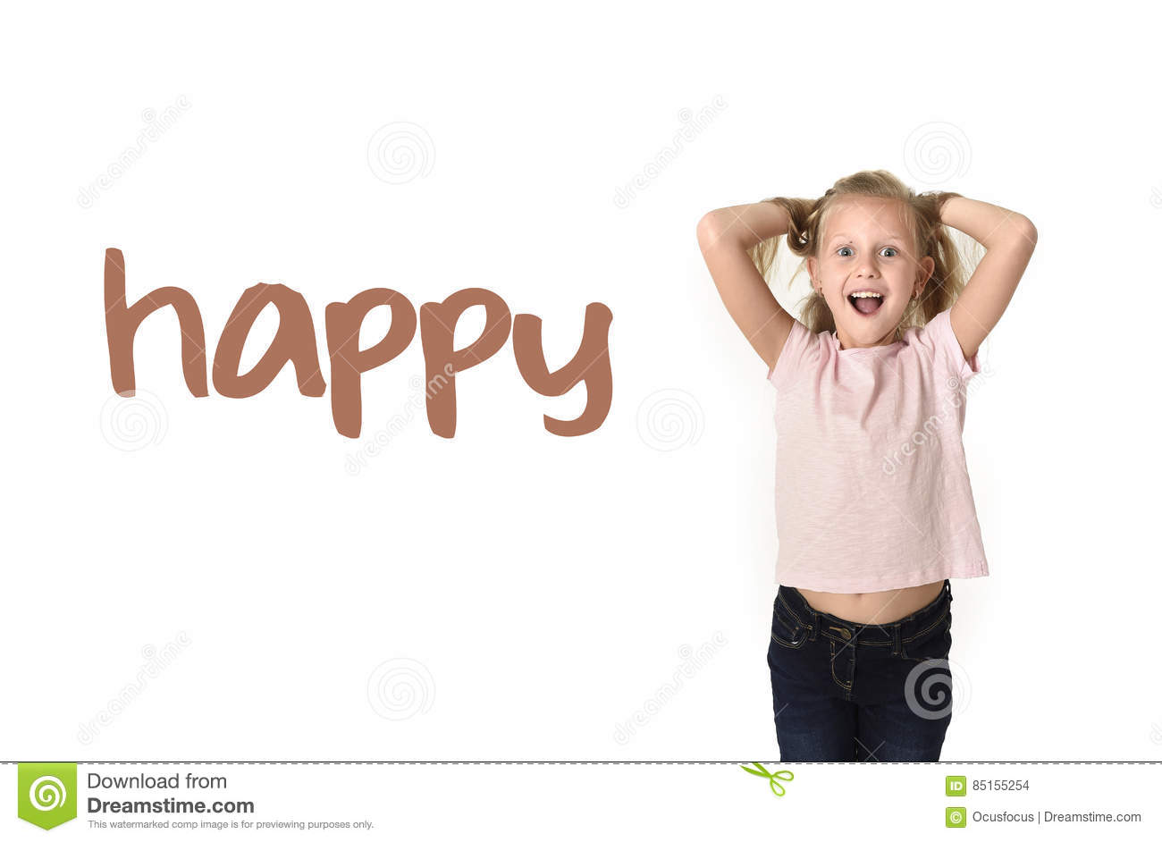 English language learning vocabulary school card of young beautiful happy female child excited
