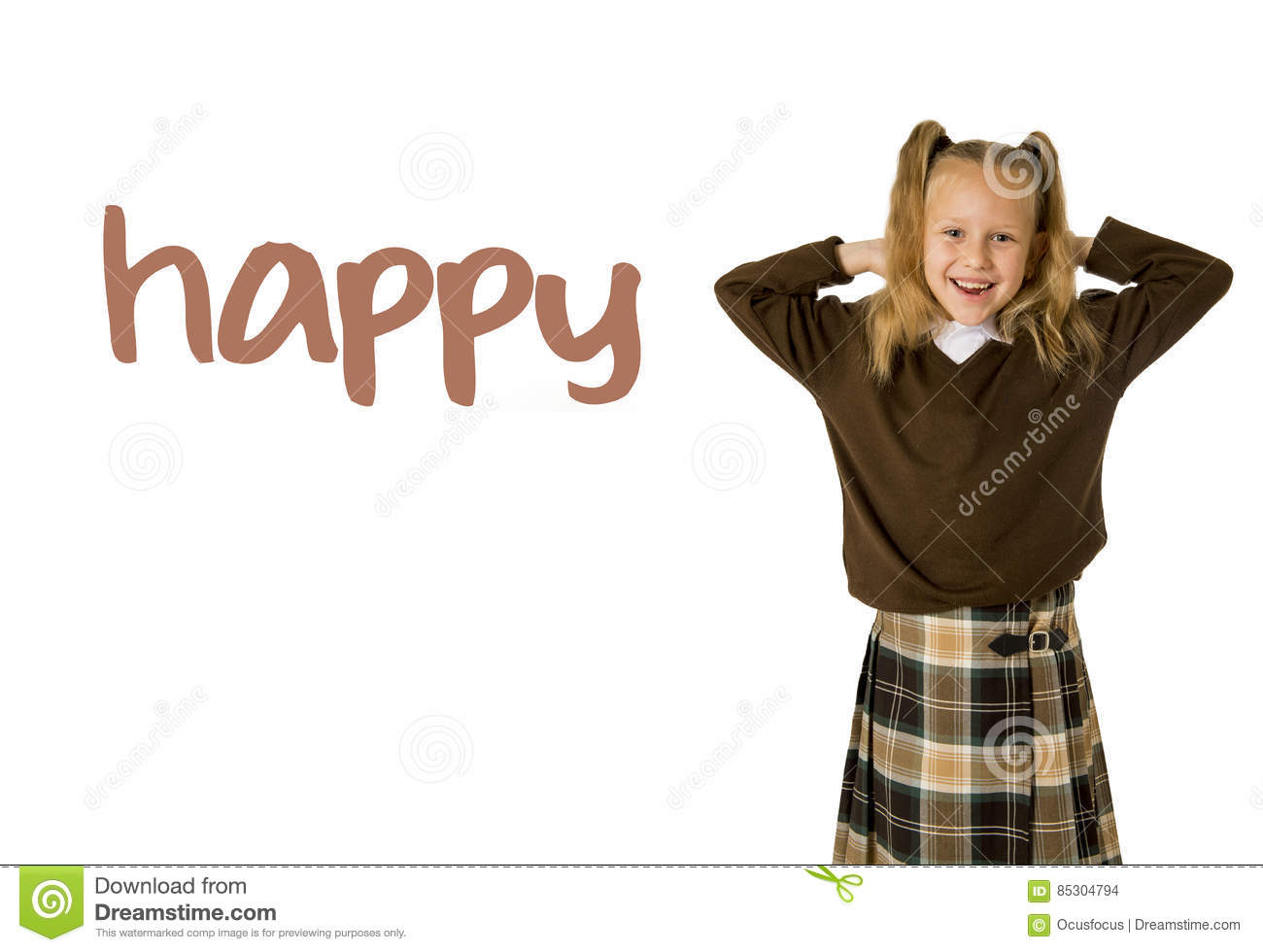 English language learning vocabulary school card of young beautiful happy female child