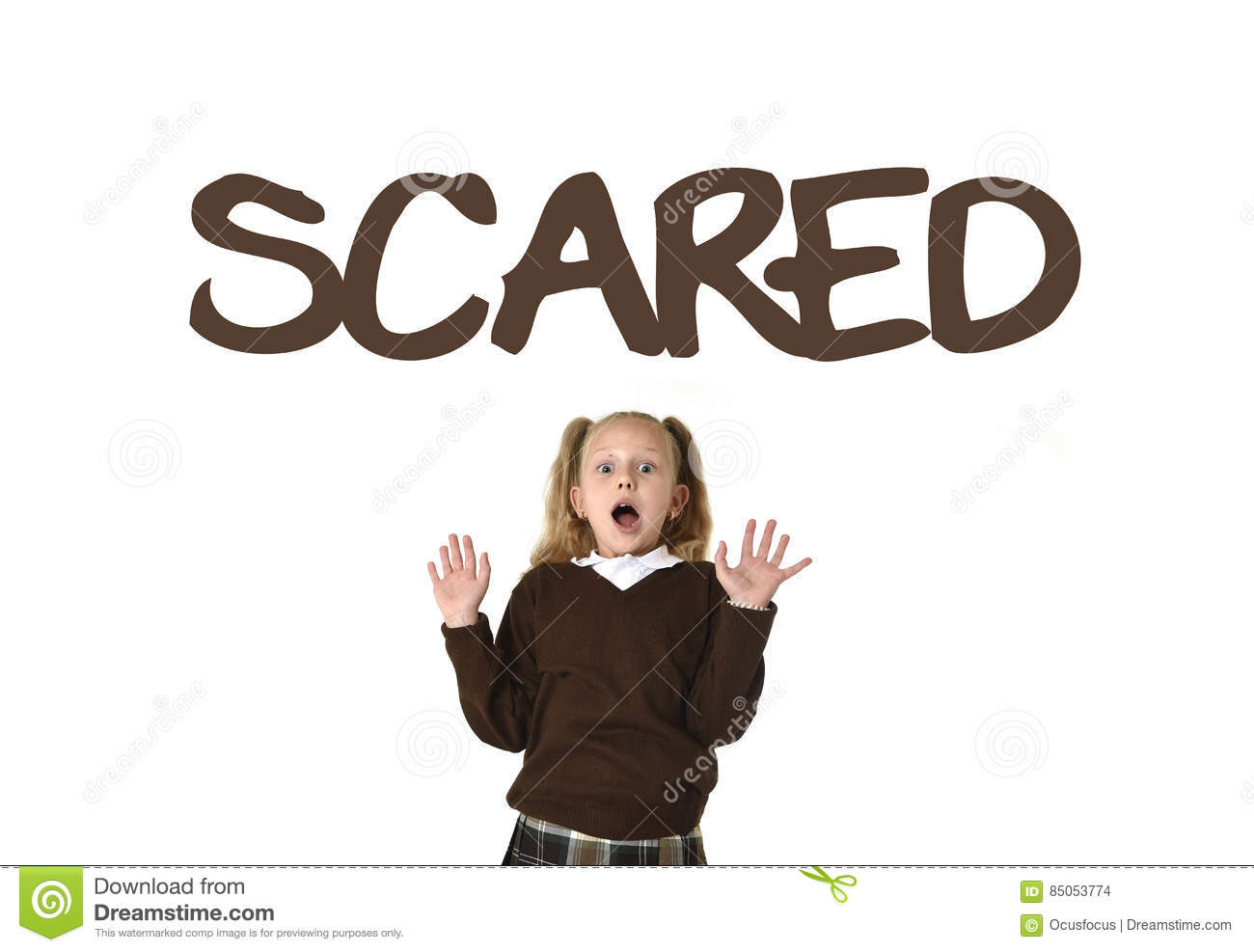 English language vocabulary learning school card with the word scared and schoolgirl
