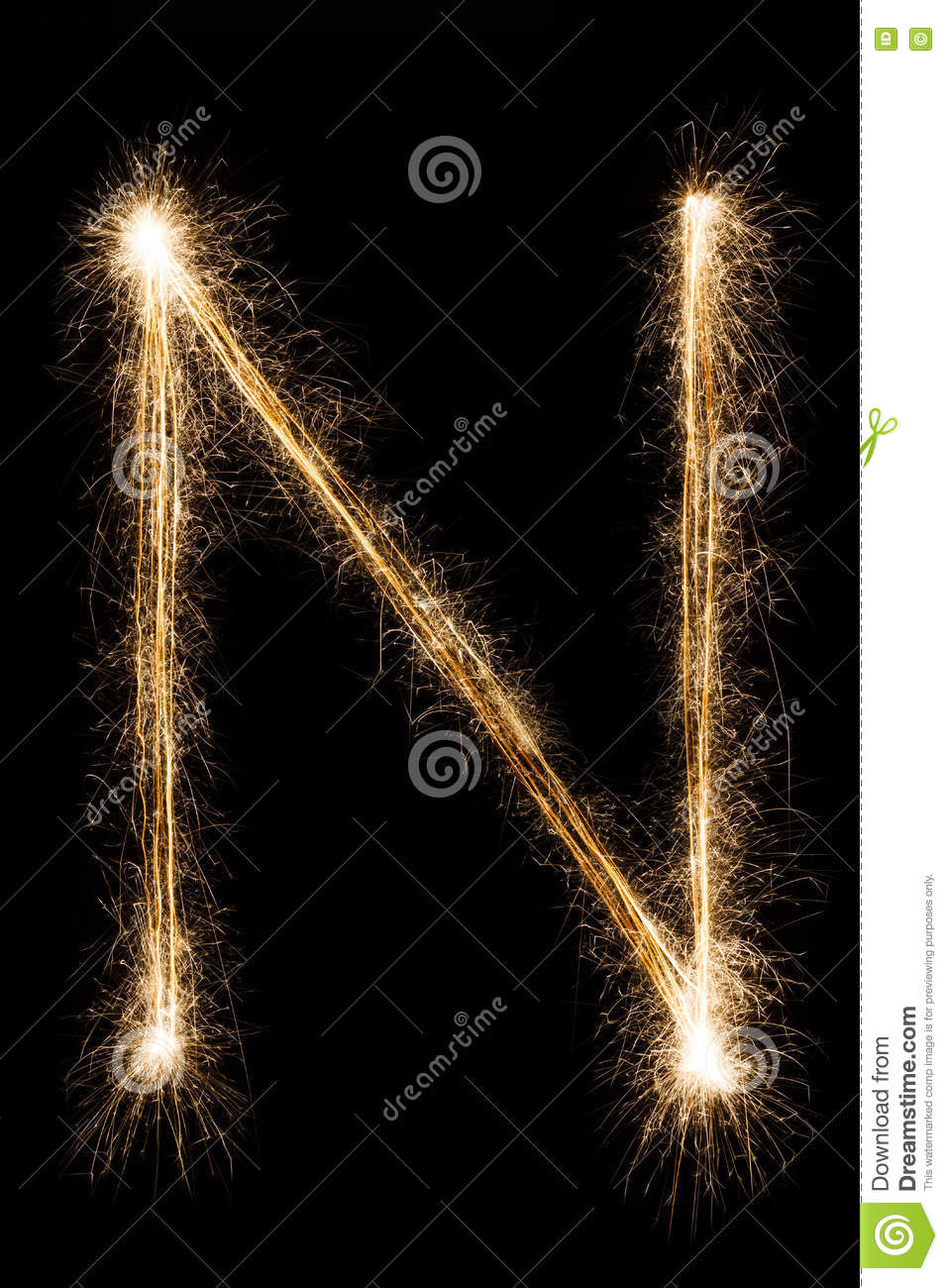 English Letter N From Sparklers Alphabet On Black Background Stock