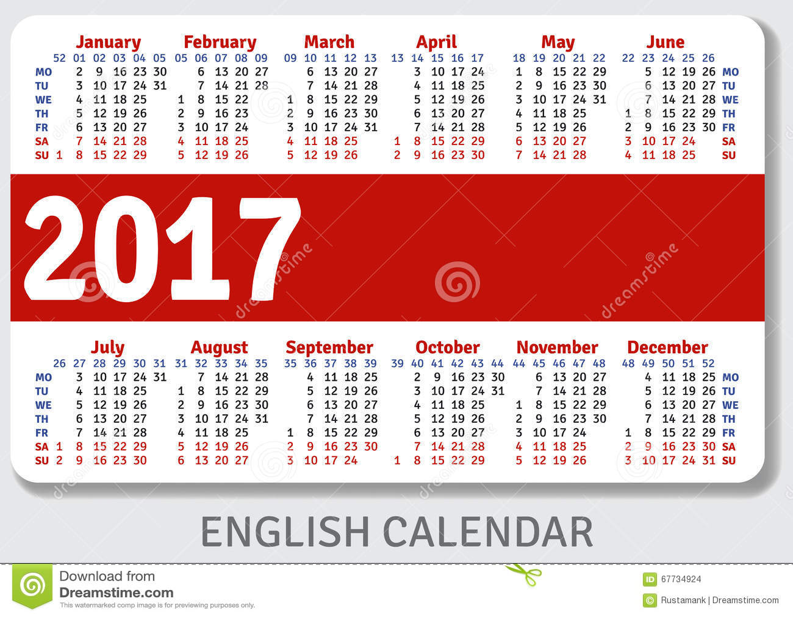 English Pocket Calendar For 2017 Stock Vector Illustration Of