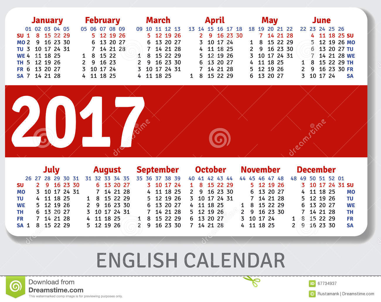 English pocket calendar for