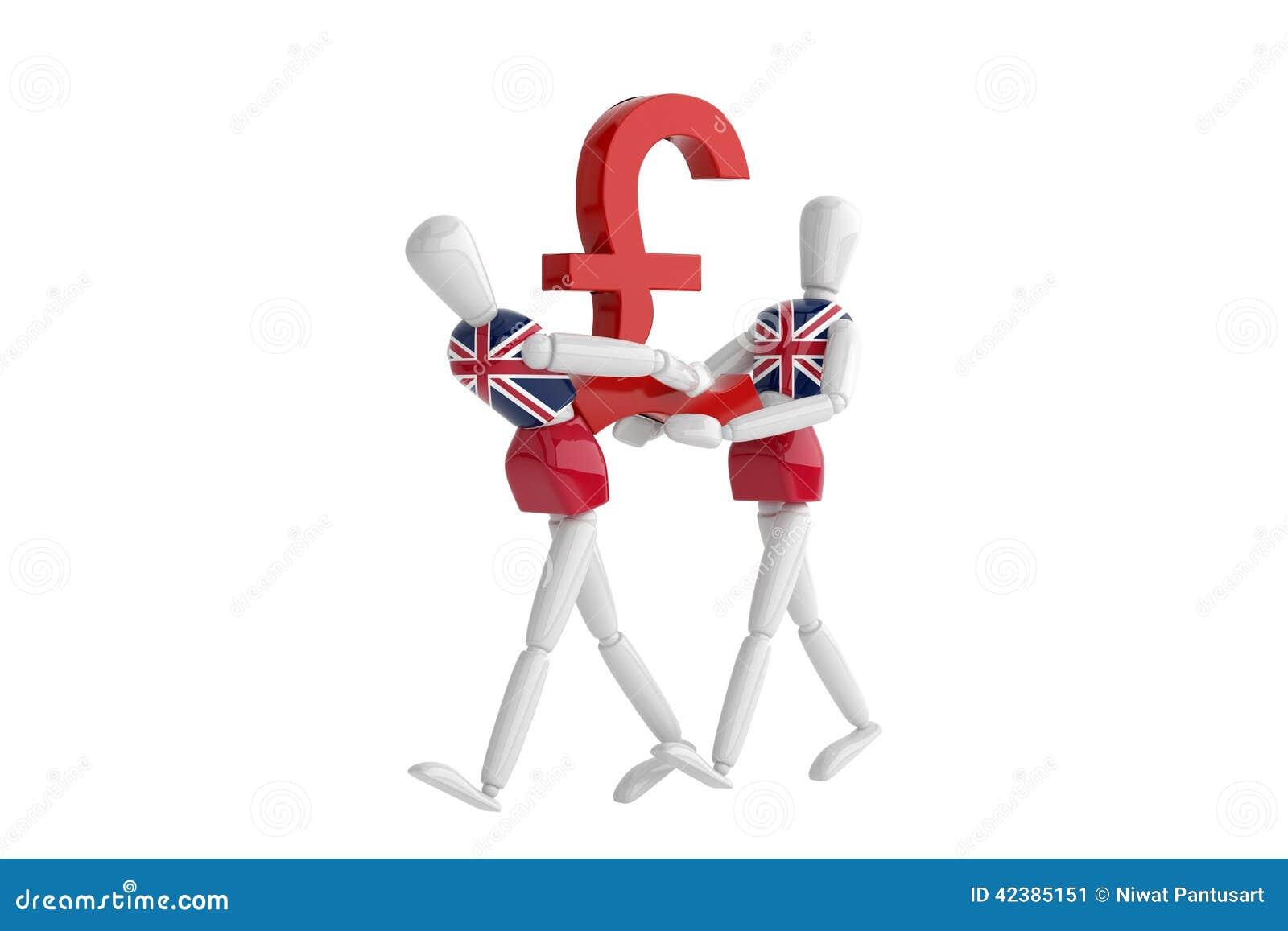 English Pound Currency White Man Stock Illustration Illustration