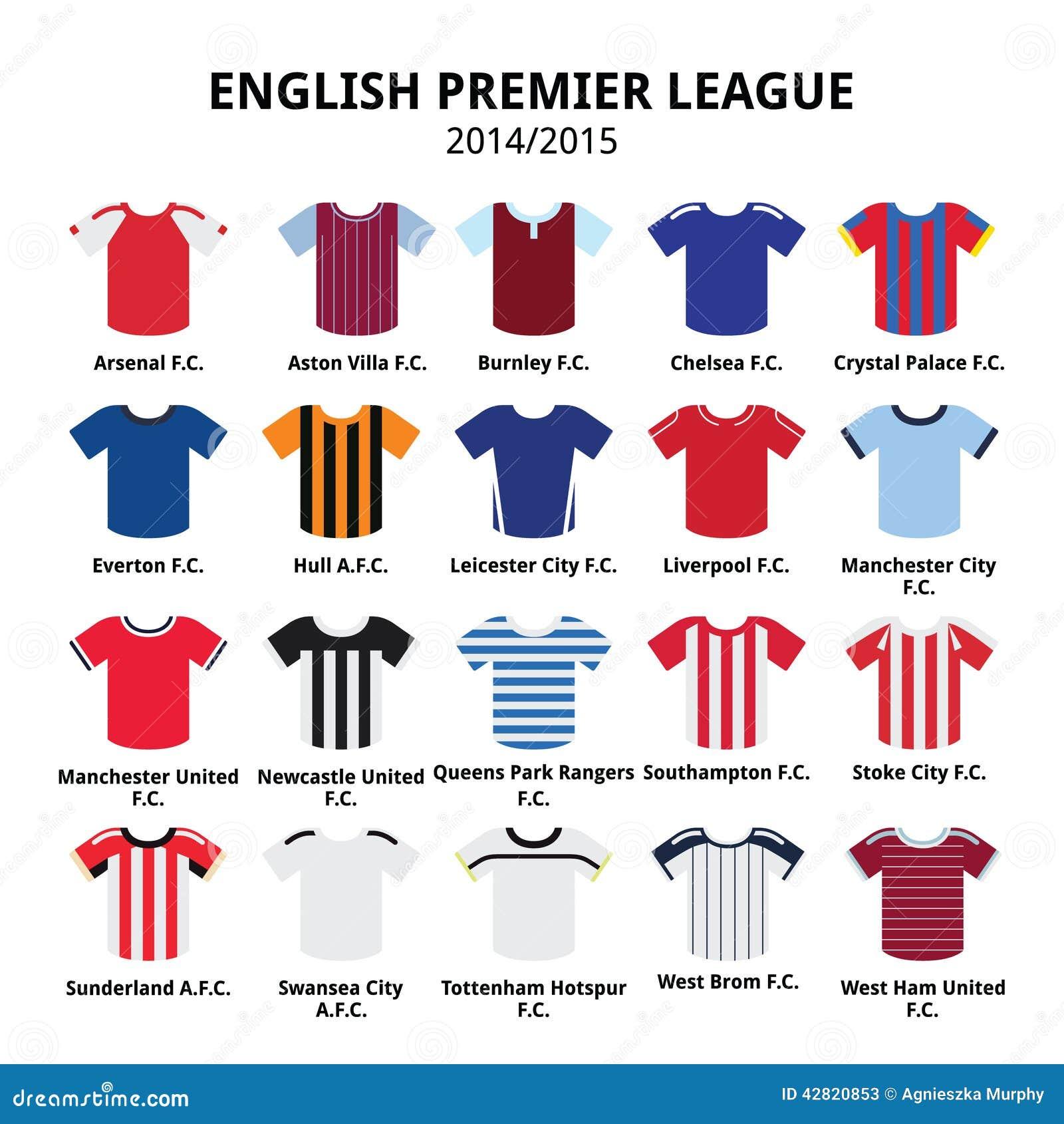 03c7ea0df9f English Premier League 2014 - 2015 football or soccer jerseys icons set
