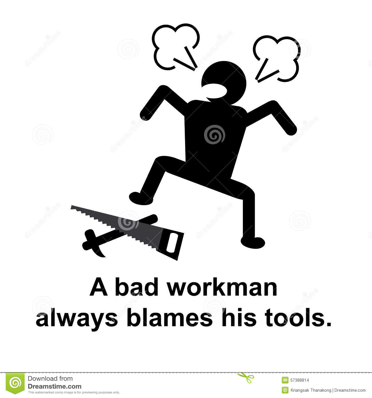 english proverb a bad workman always blames his tools stock illustration   image 57388814