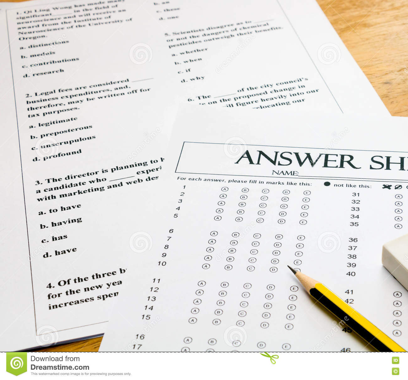 english question and answer sheet on table stock photo image of pencil question 71292536. Black Bedroom Furniture Sets. Home Design Ideas