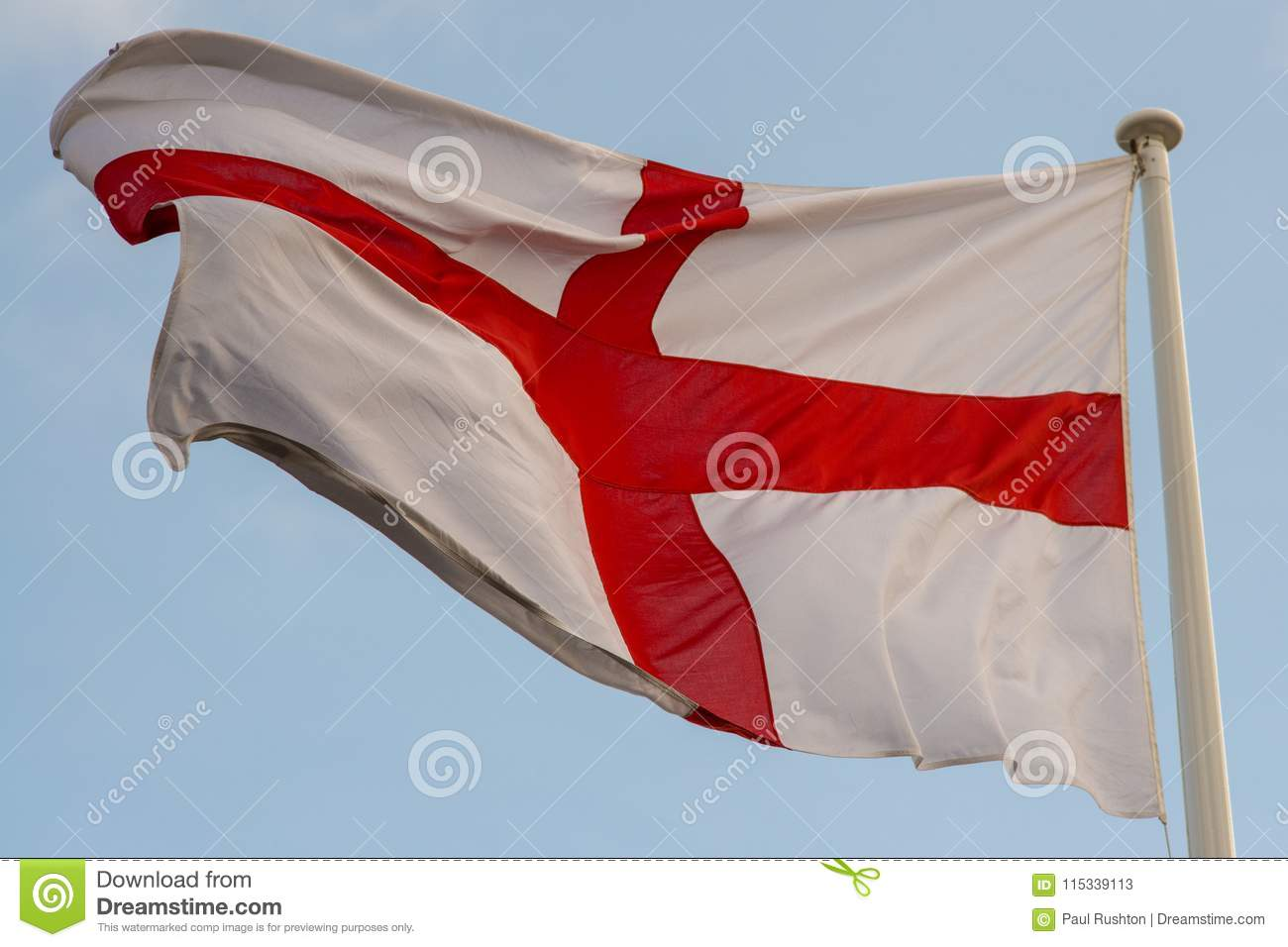 English Red Cross Flag Flying Proudly At Full Mast Stock Image