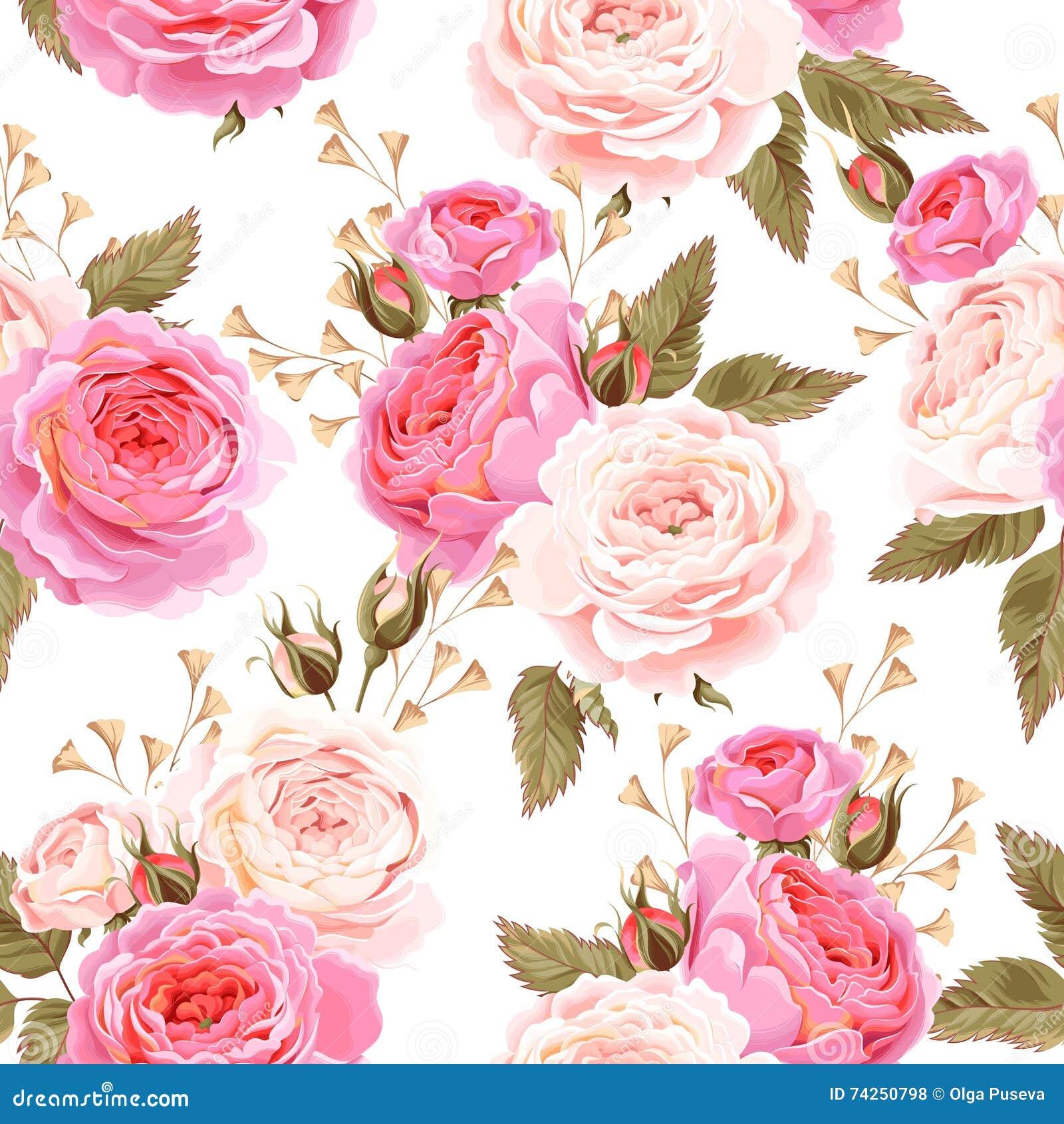 English Roses Seamless Stock Vector