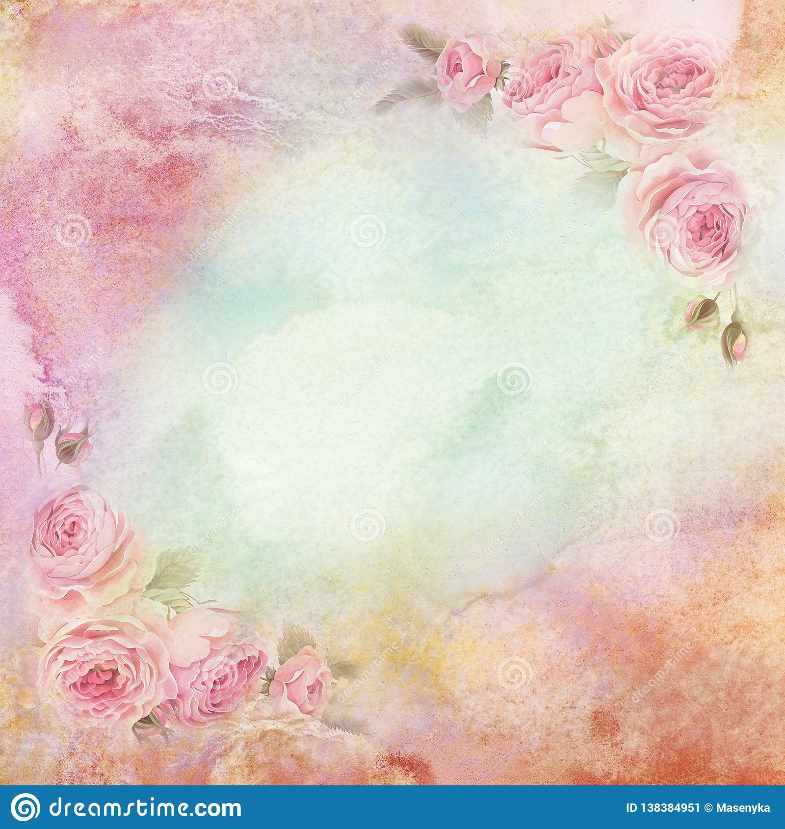 English Roses On Vintage Wallpaper Stock Illustration