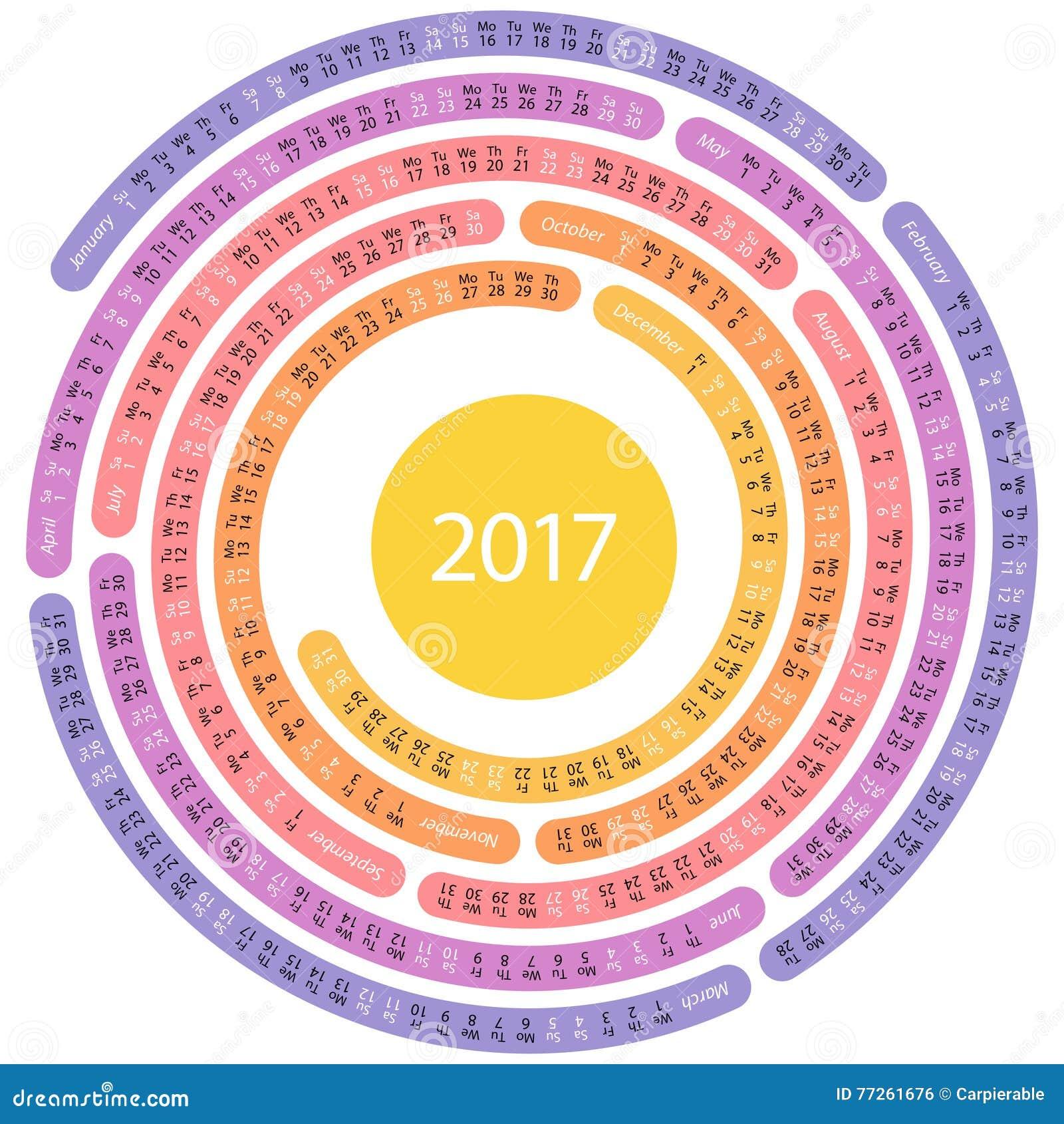 2017 English Round Calendar Stock Vector Image 77261676