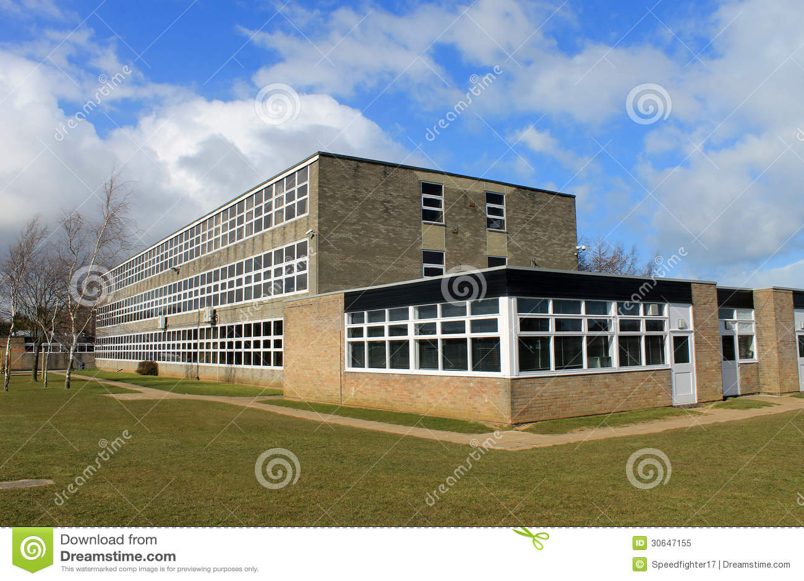 English School Building Stock Image Image Of Grass
