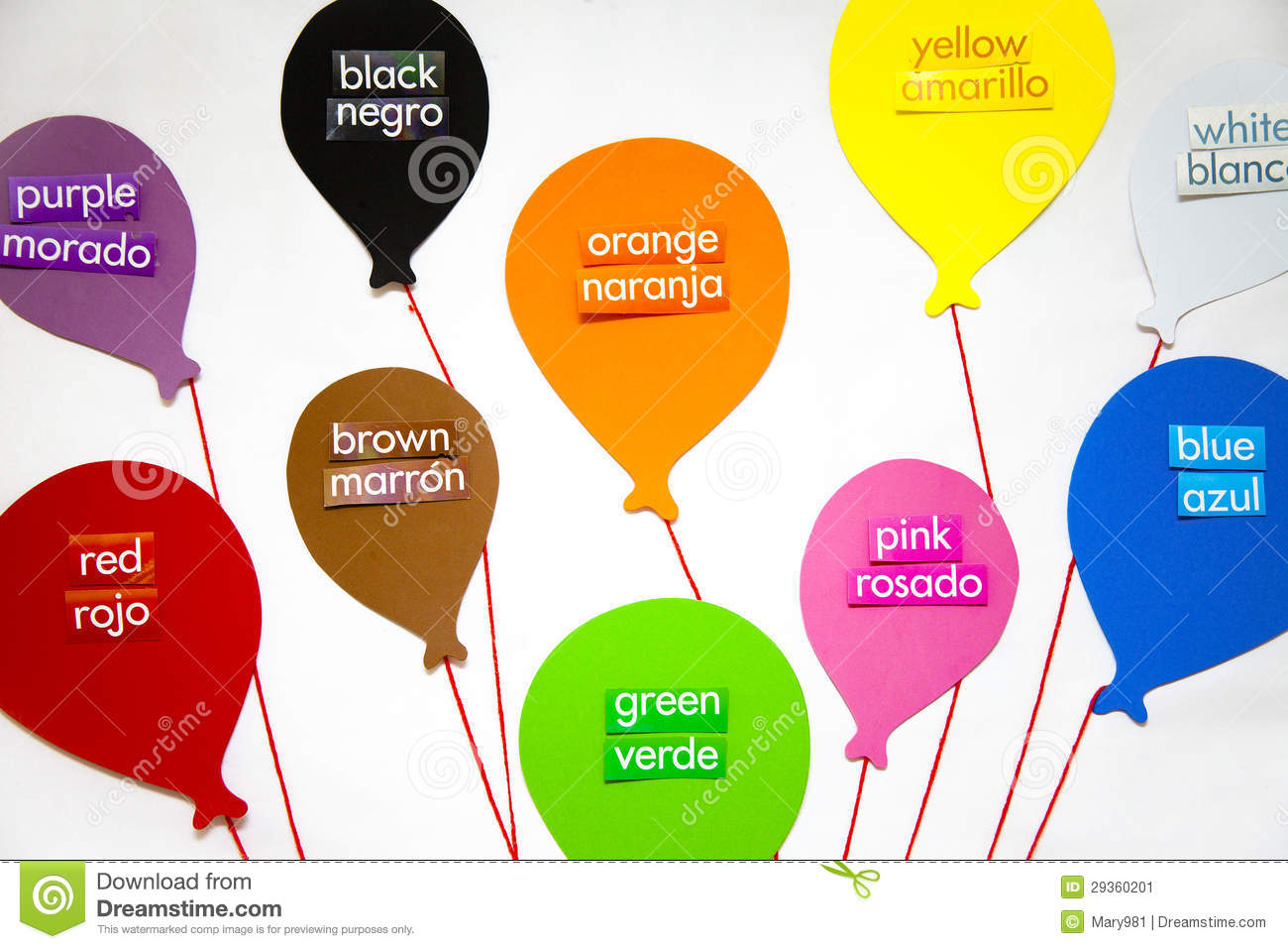 The English and Spanish words for each color labels a balloon for each ...