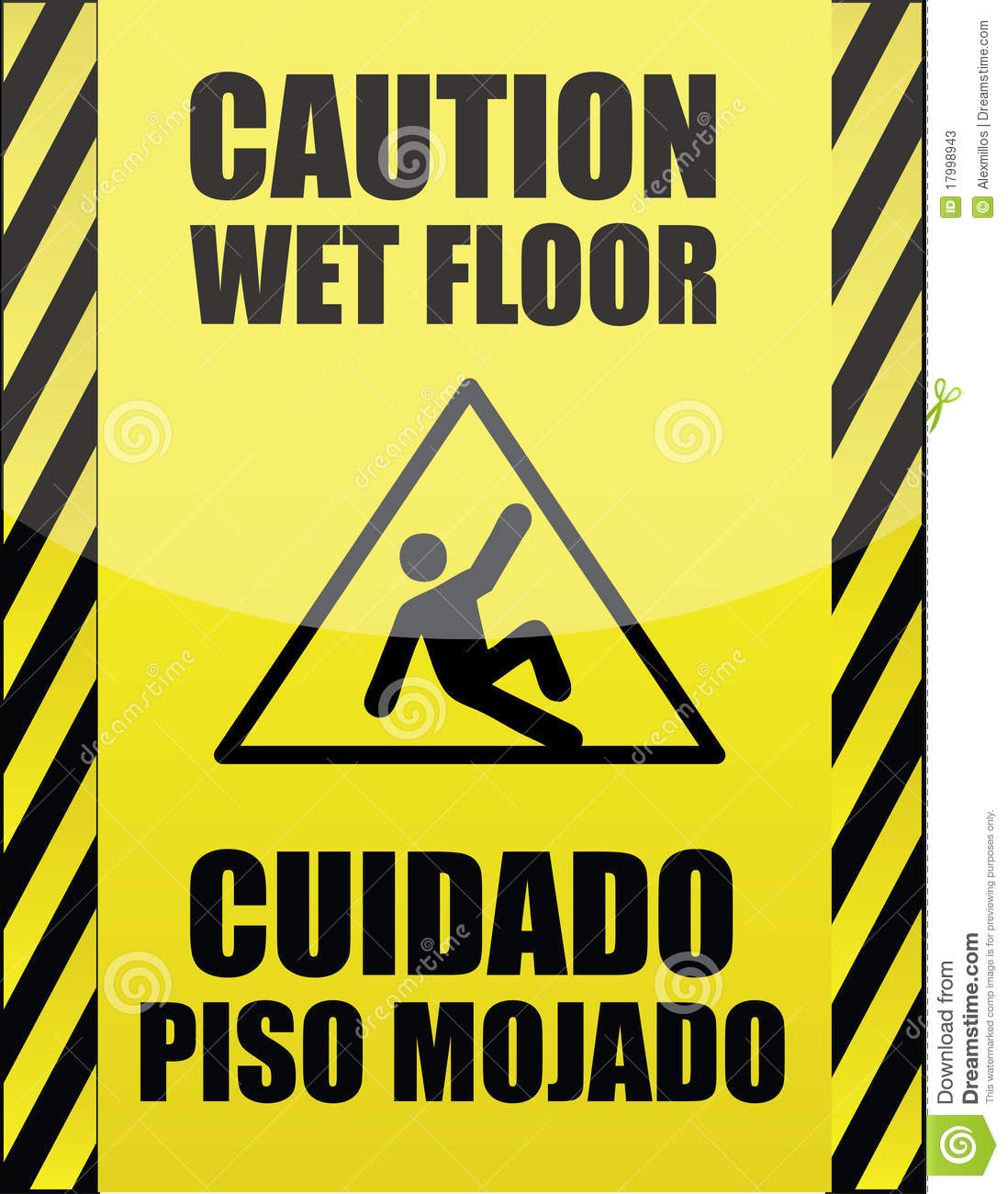 Delightful Royalty Free Stock Photo. Download English And Spanish Wet Floor ...