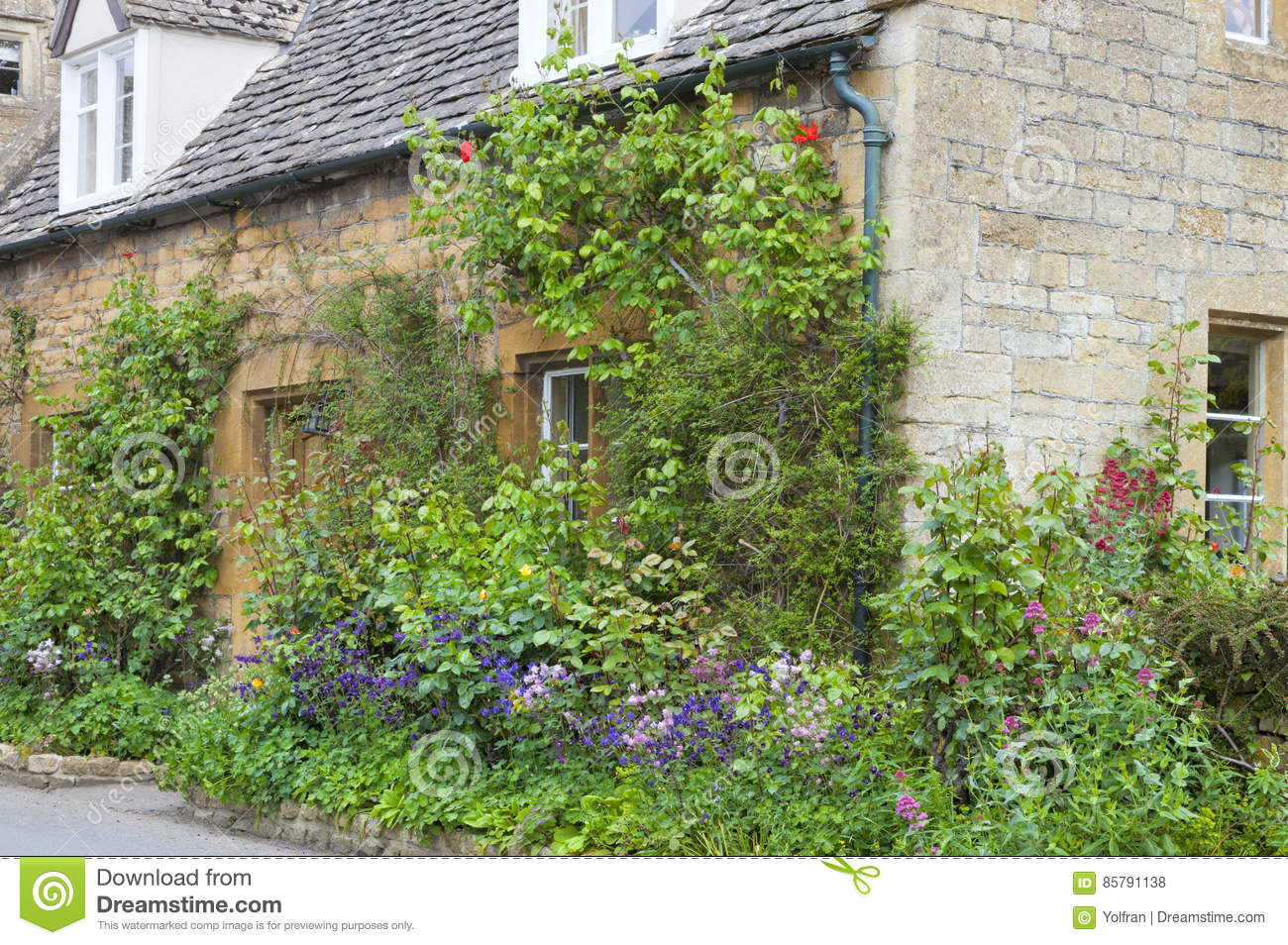 English Stone Cottage House Plans English Stone House With Colourful Cottage Front Garden