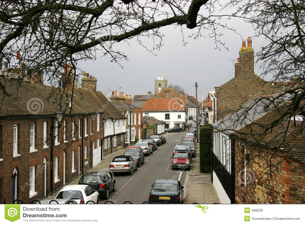 Cars With 3 Rows Of Seats >> English street scene stock photo. Image of overcast, cars - 499256