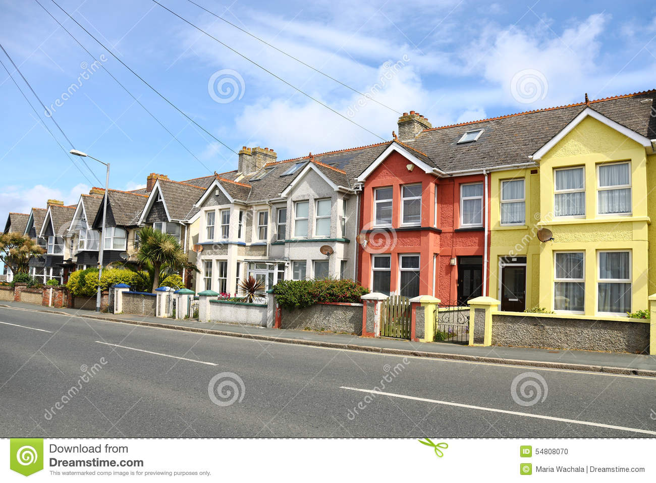 English street of terraced house