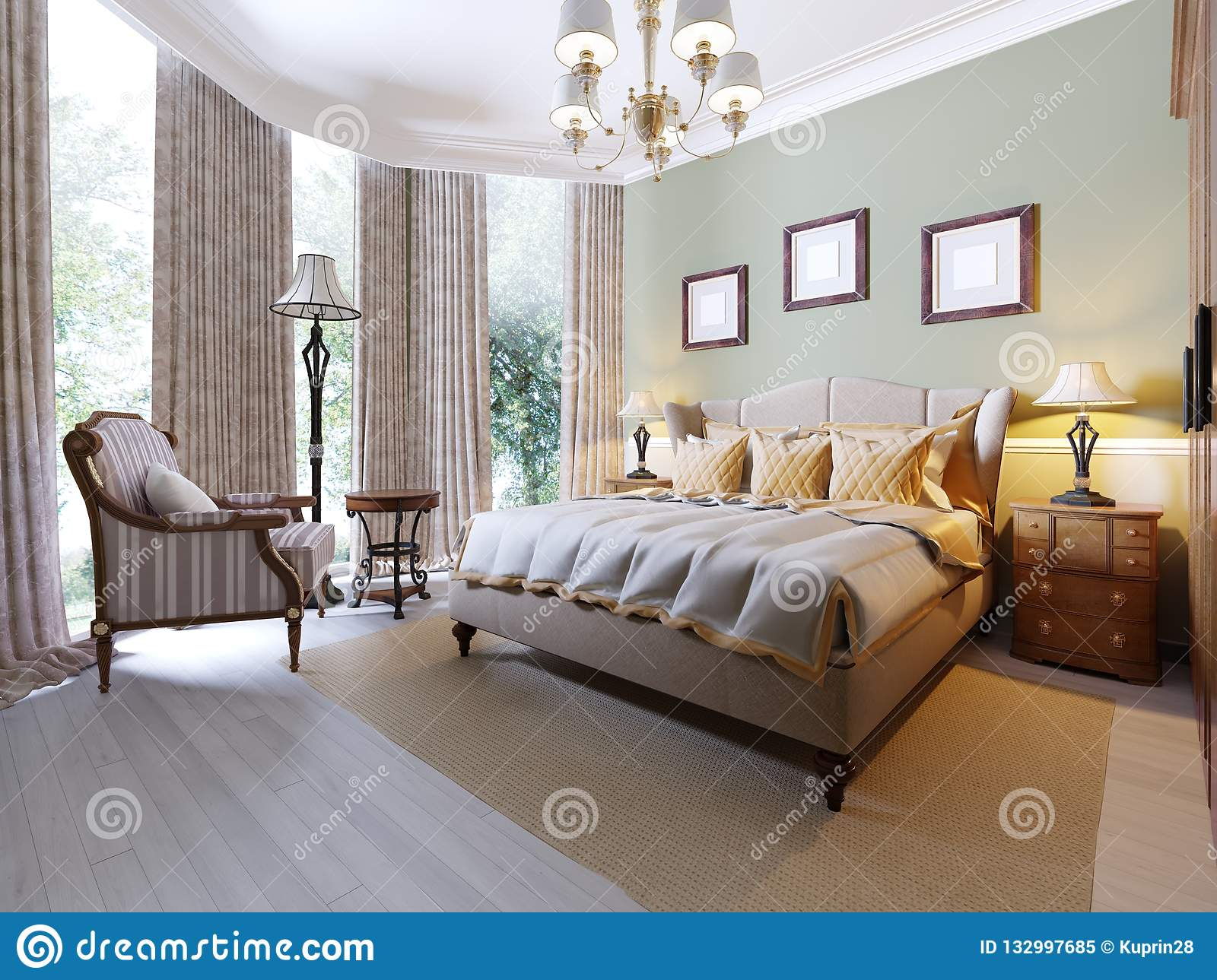 English Style Bedroom With A Large Soft Fabric Bed Bedside Tables With Lamps Large Wardrobe And Dresser With Mirror Stock Illustration Illustration Of Cushion Cozy 132997685
