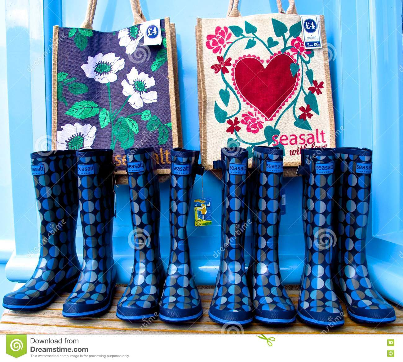 English Summer Wellington Boots Wellies And Beach Bags Editorial ...