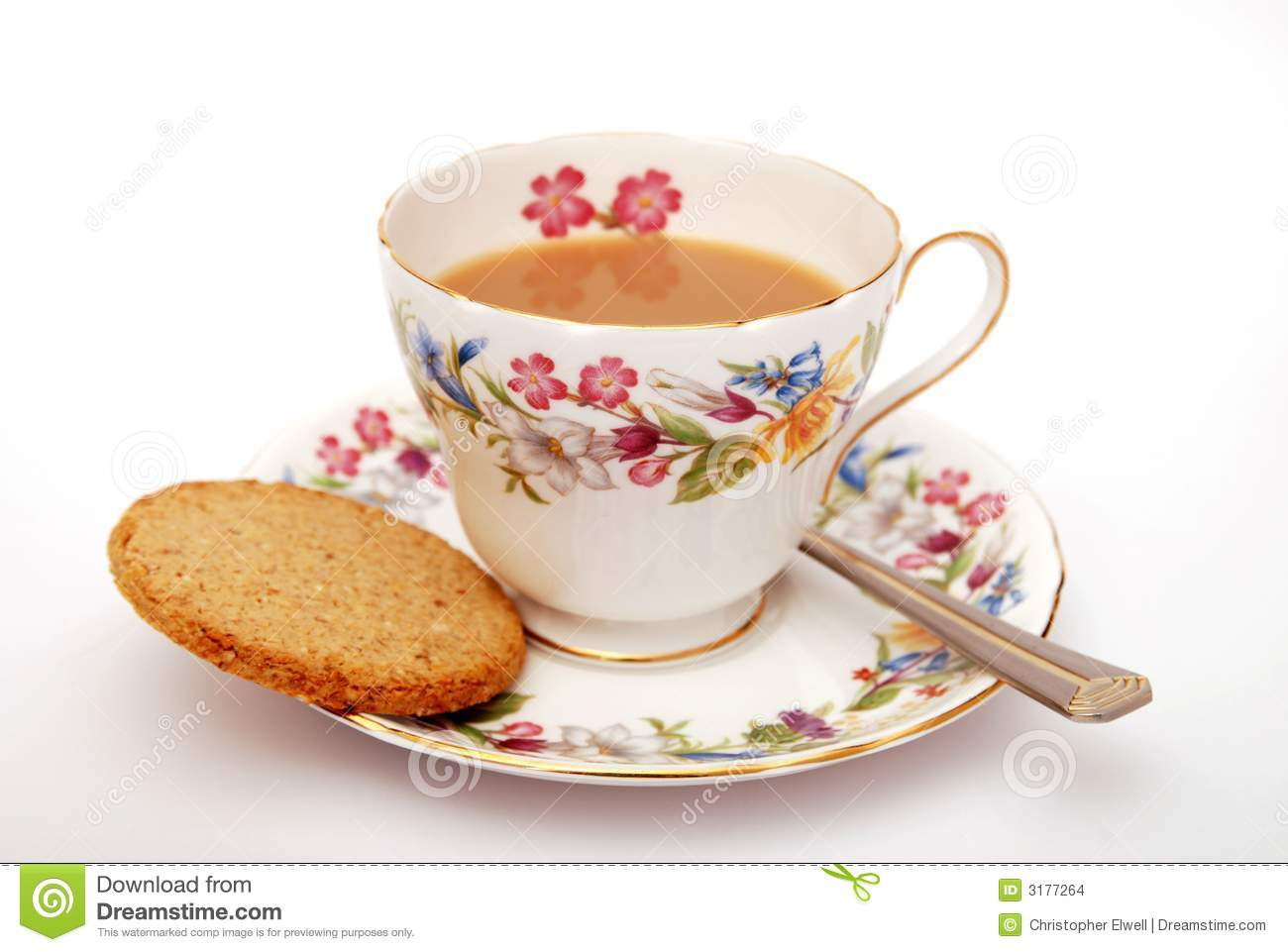 Shelley - Cup of Traditional English tea with biscuit on white ...