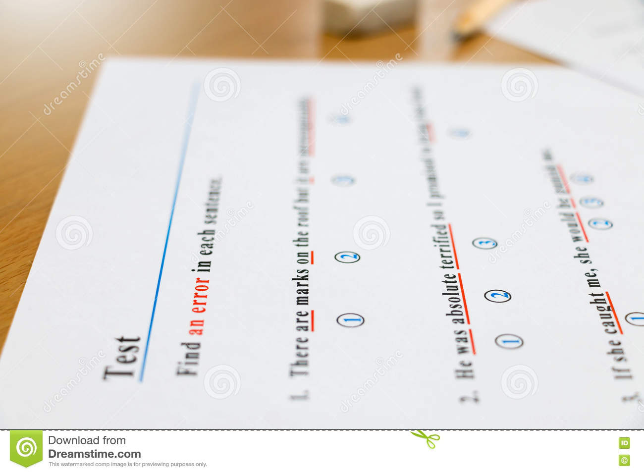 English Test And Answer Sheet On Table Stock Image - Image of