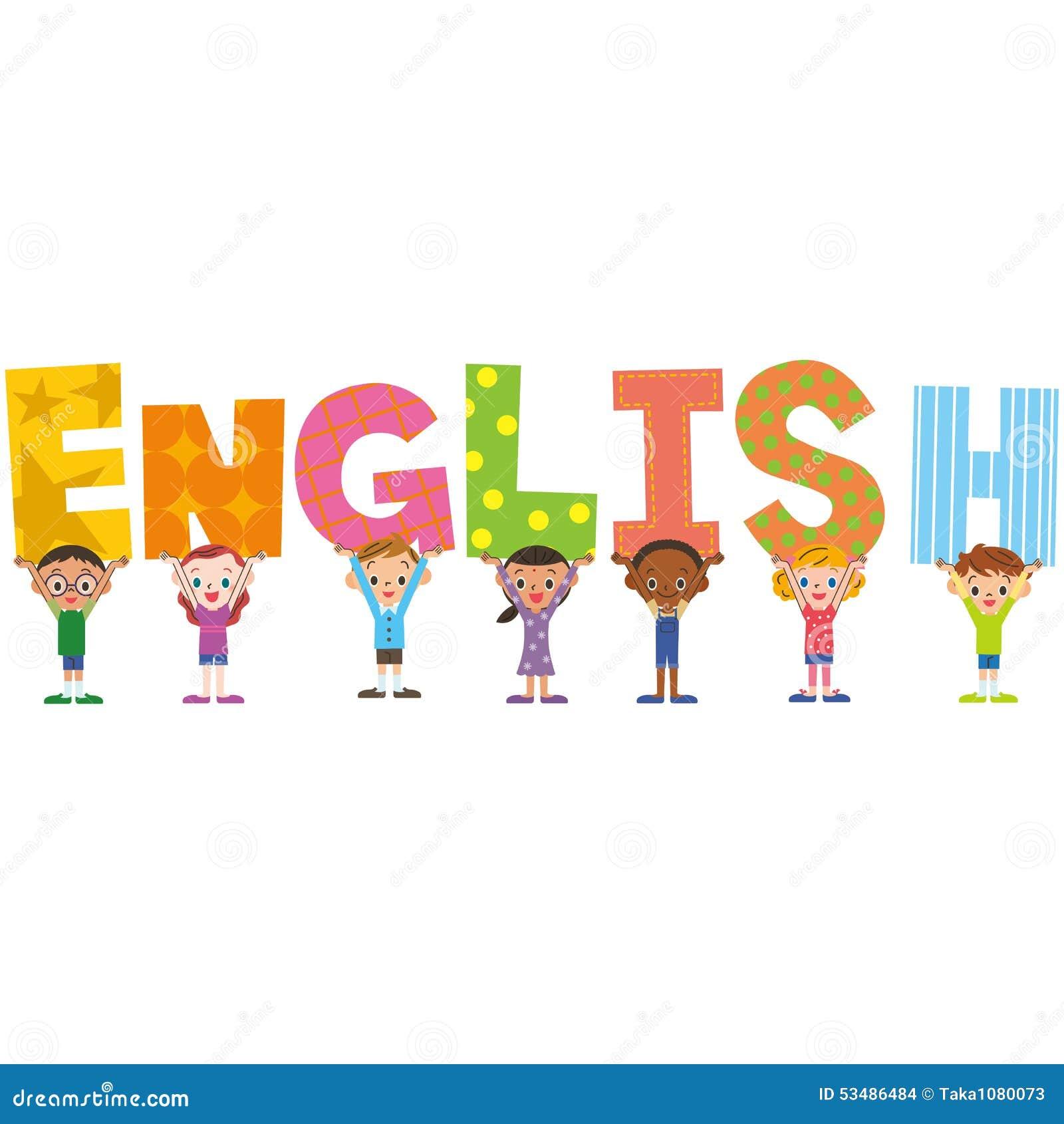 Stock Illustration English Title Children Close Having Block Image53486484 on Bubble Writing Abc