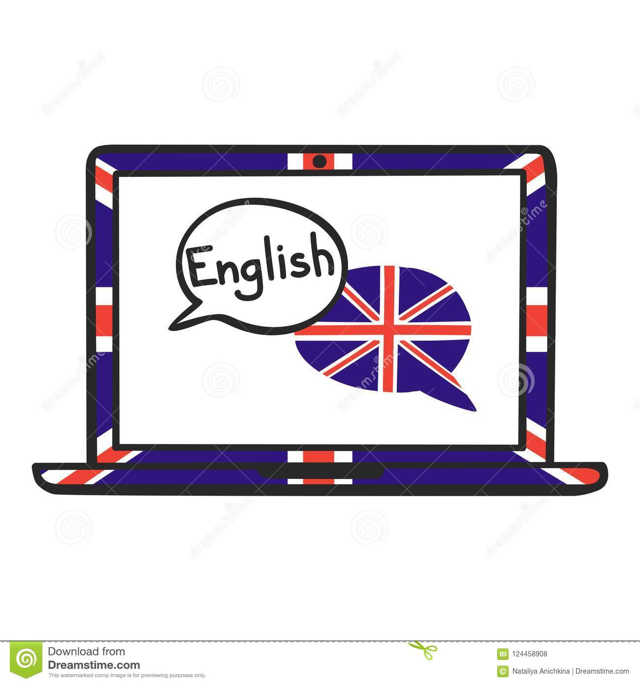 English  stock vector  Illustration of laptop, dictionary