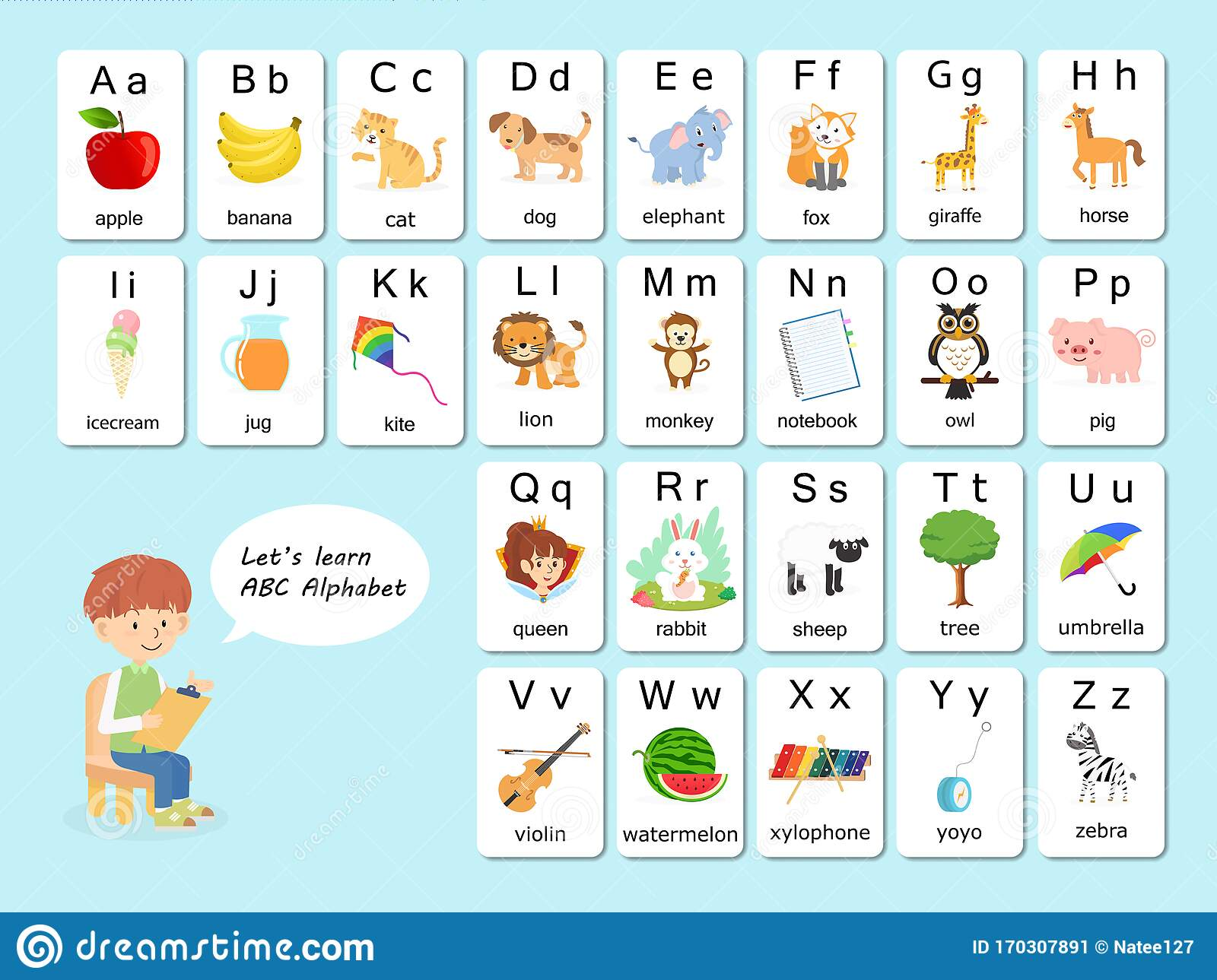 English Vocabulary and Alphabet Flash Card Vector for Kids ...