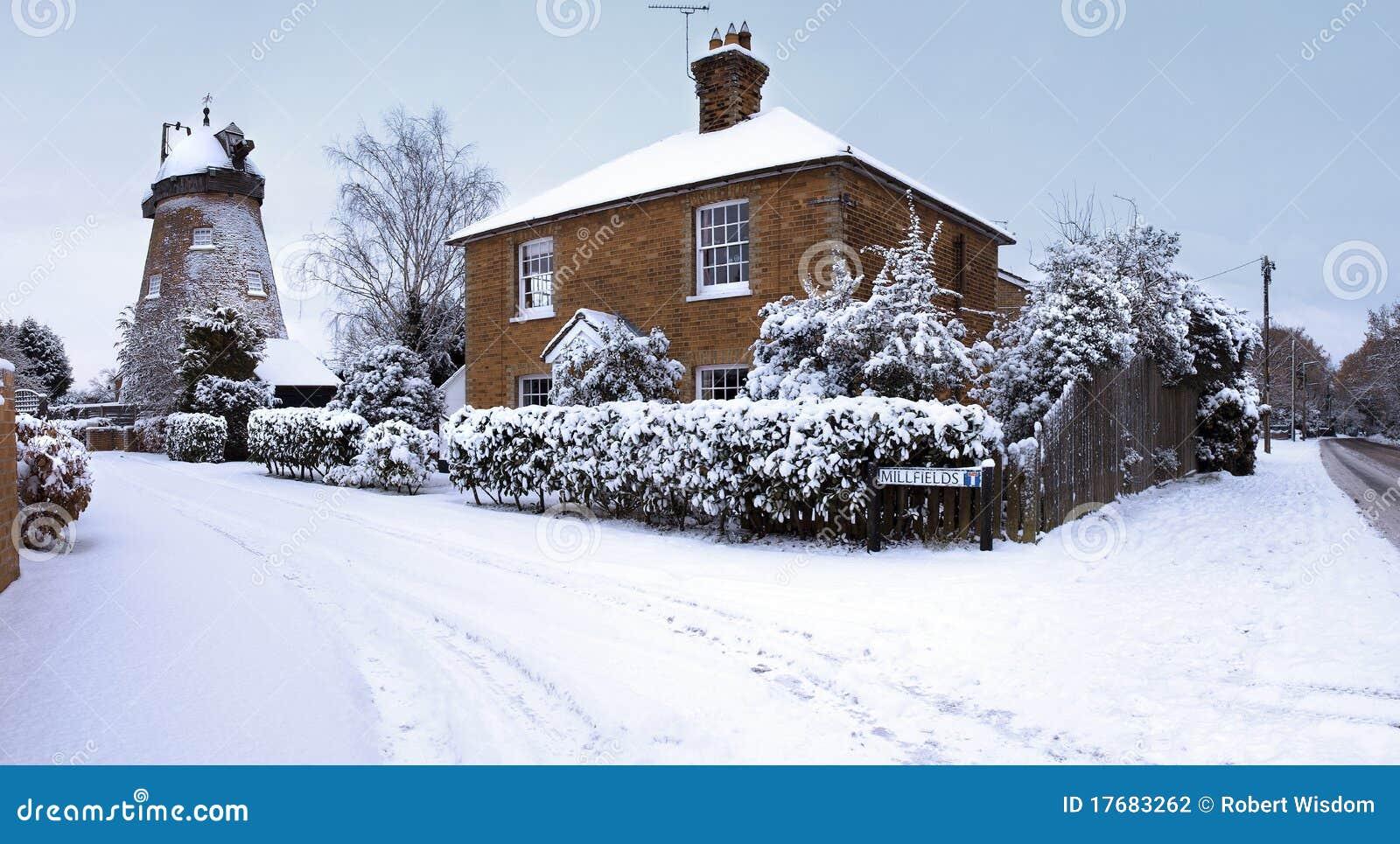 English Windmill Snow Scene Stock Photography Image