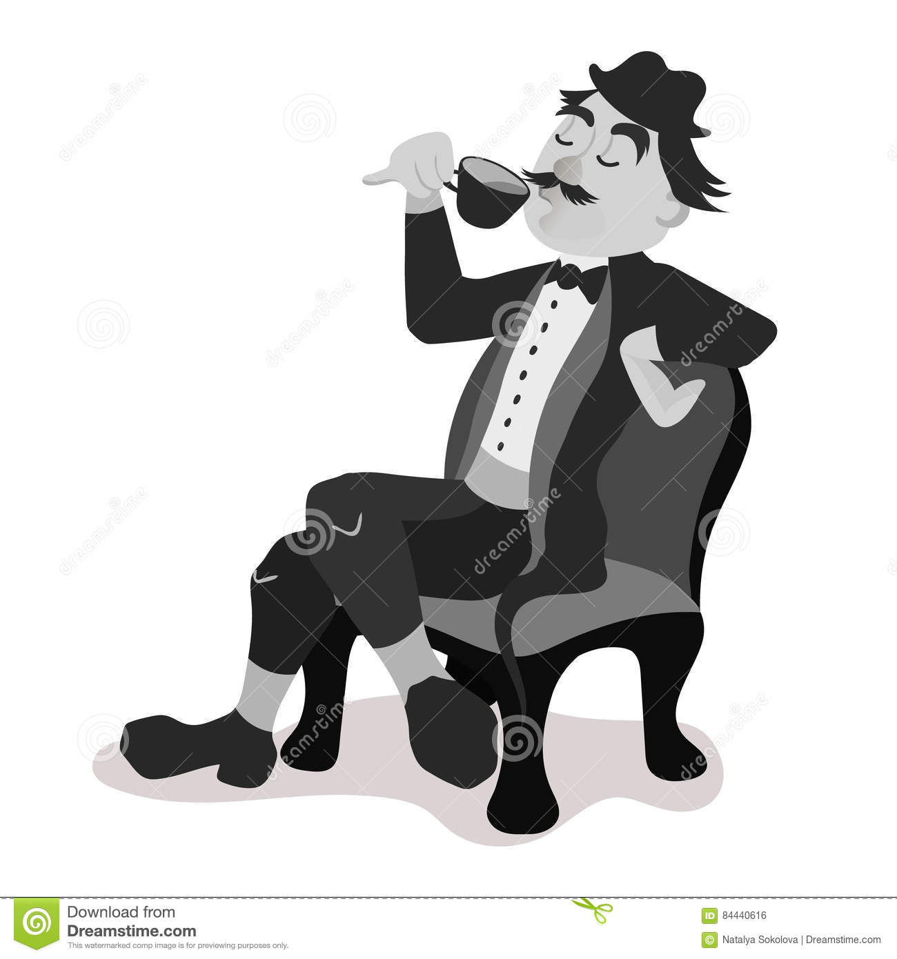 englishman drinking tea from a little teacup stock vector