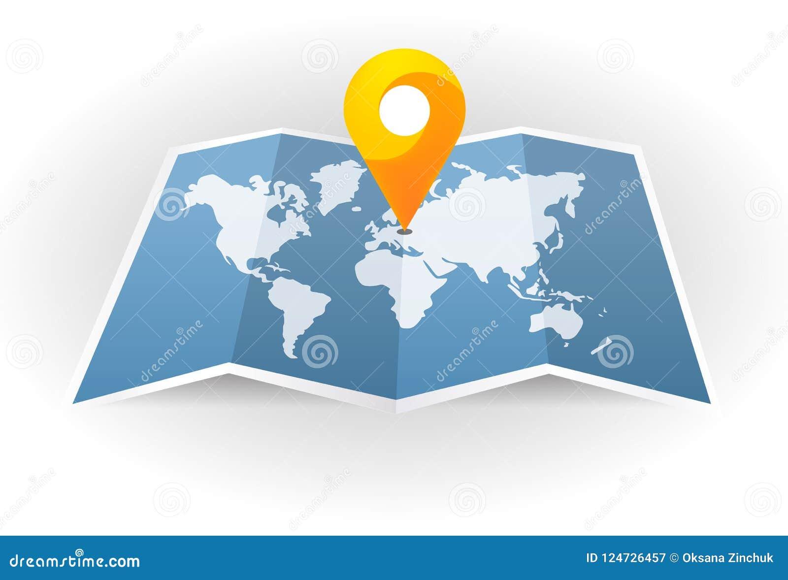 Engrana el icono Correspondencia de la ciudad Punto en el mapa Pin y navegador de GPS Indicador del marcador del mapa con el mapa