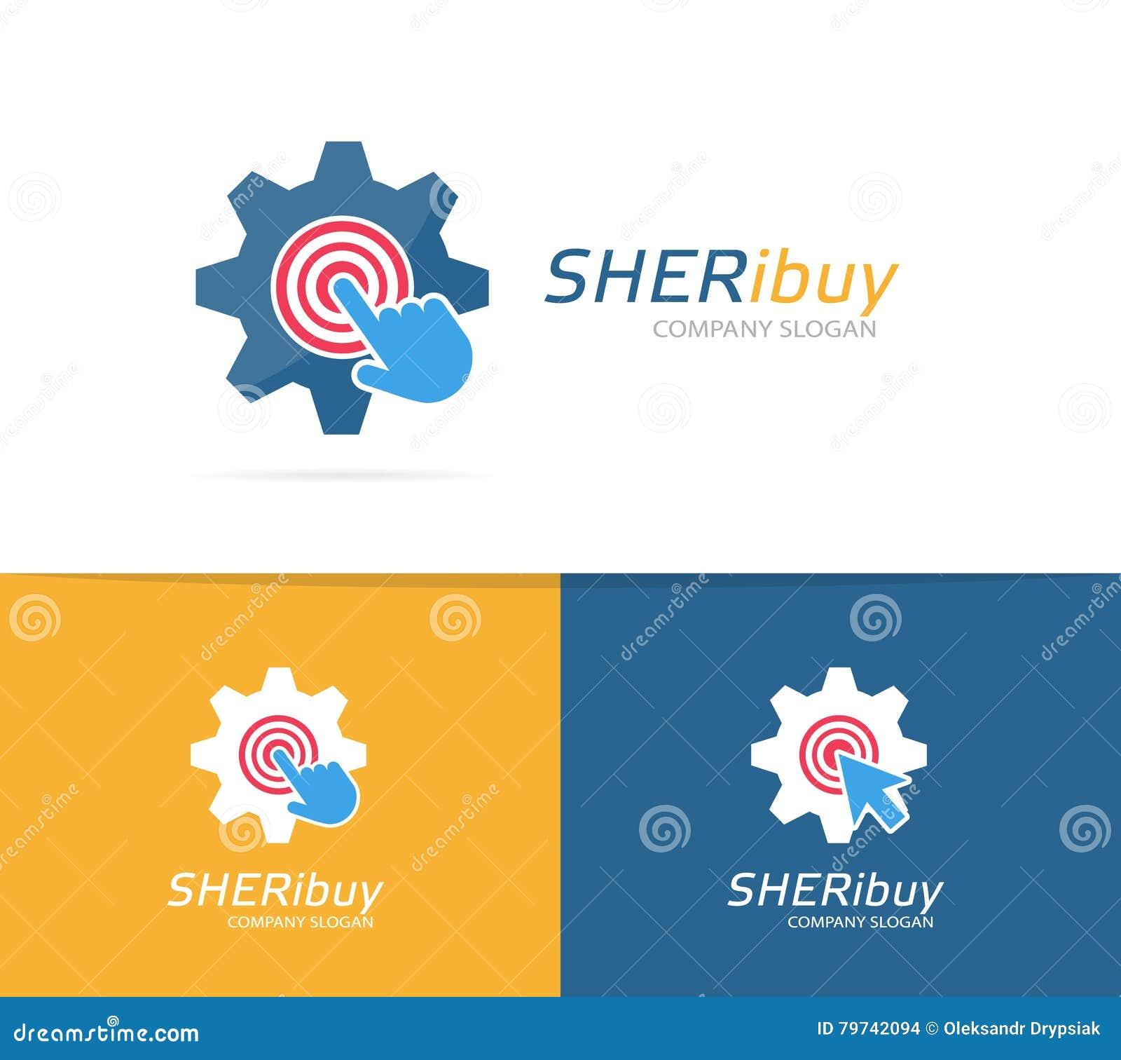 Engranaje del vector y combinación del logotipo del tecleo Símbolo o icono industrial y del cursor Diseño único del logotipo de l