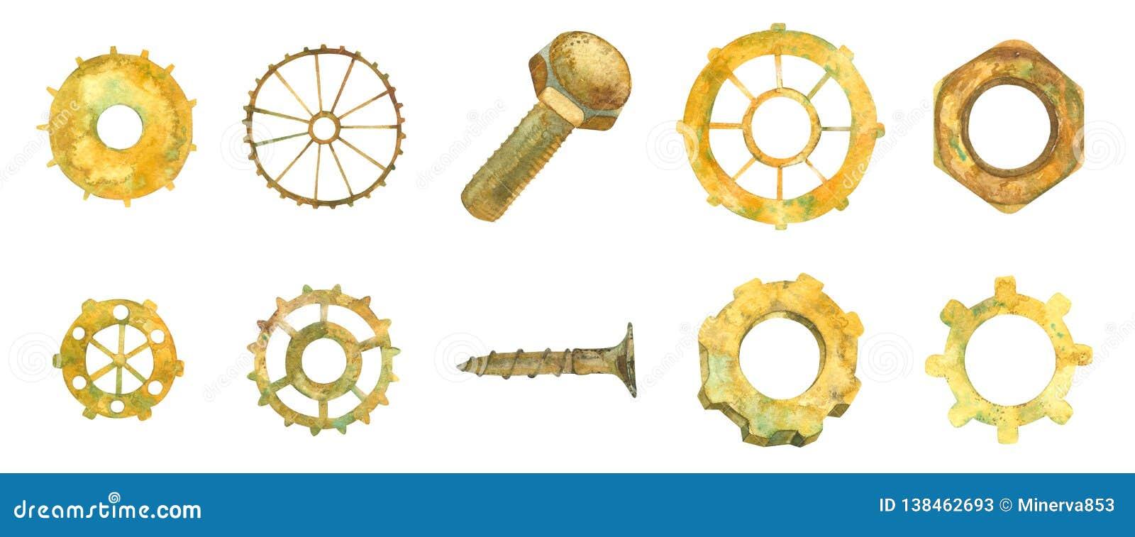 Engranaje Rueda de engranaje Negocios Hardware de la industria Ruedas oxidadas de Ellow, nueces, perno illustratio de la acuarela