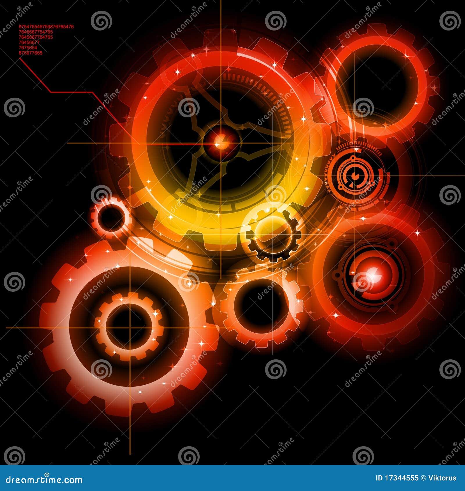 Engranajes de Techno que brillan intensamente