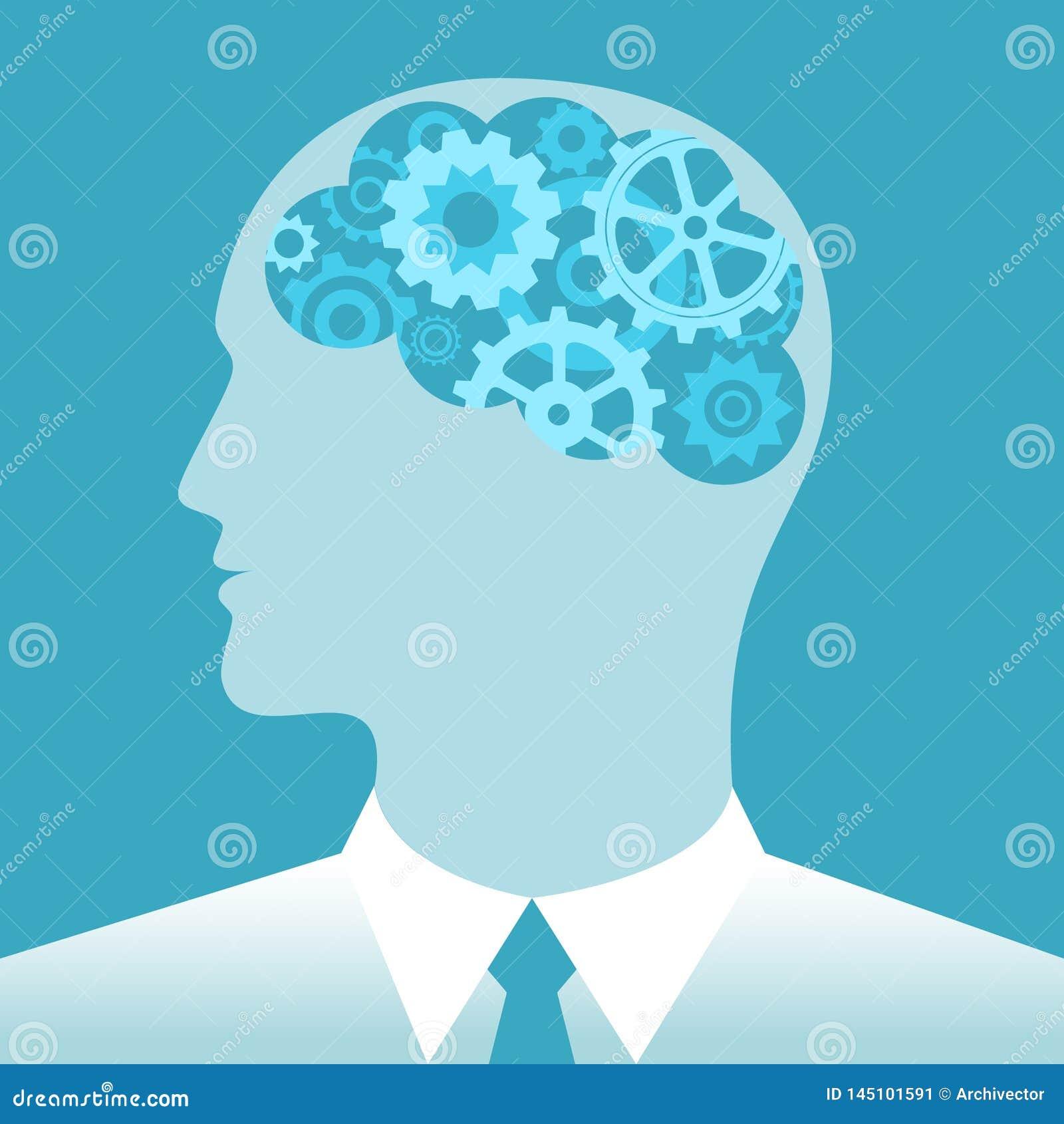 Engranajes en hombre del cerebro