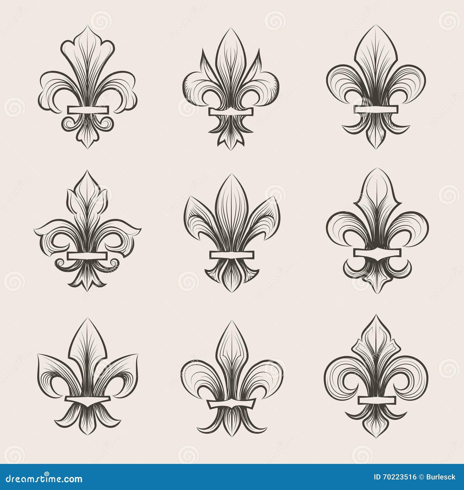 Engraving Fleur De Lis Icons Set Stock Vector  Image