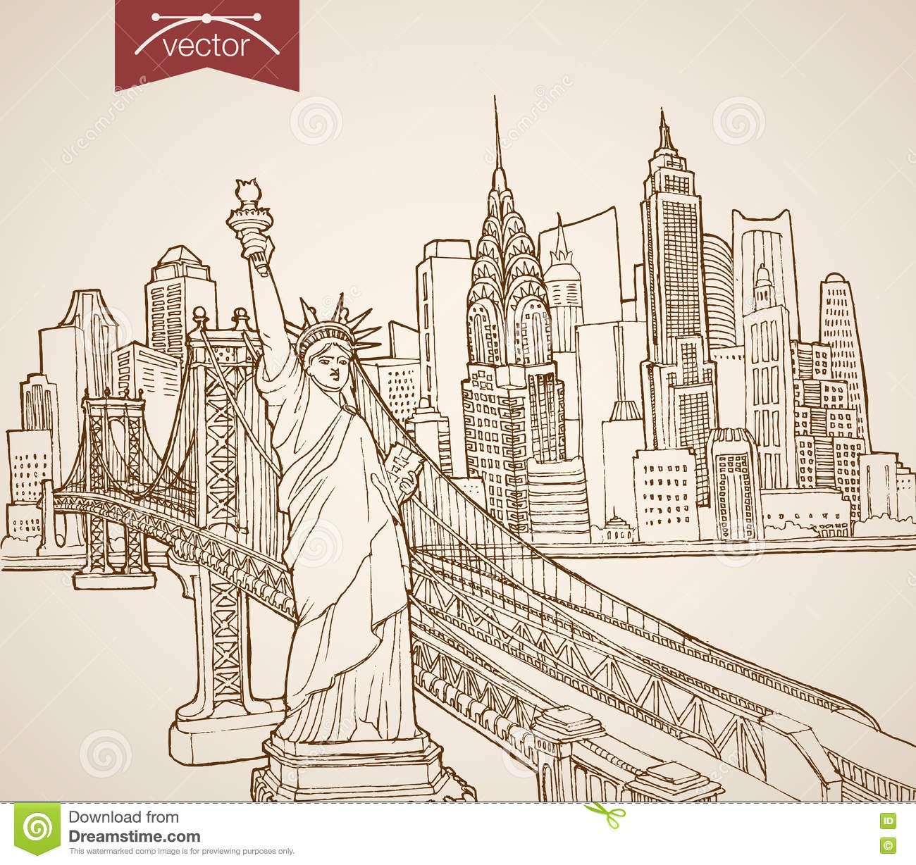 Engraving vintage hand drawn vector united states stock vector