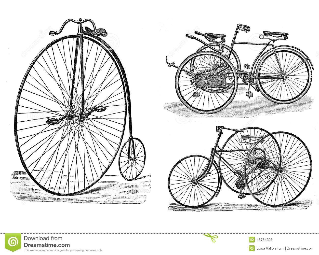 Engraving Of Vintage Tricycle And Bike Stock Illustration Illustration Of Retro Isolated 46764308