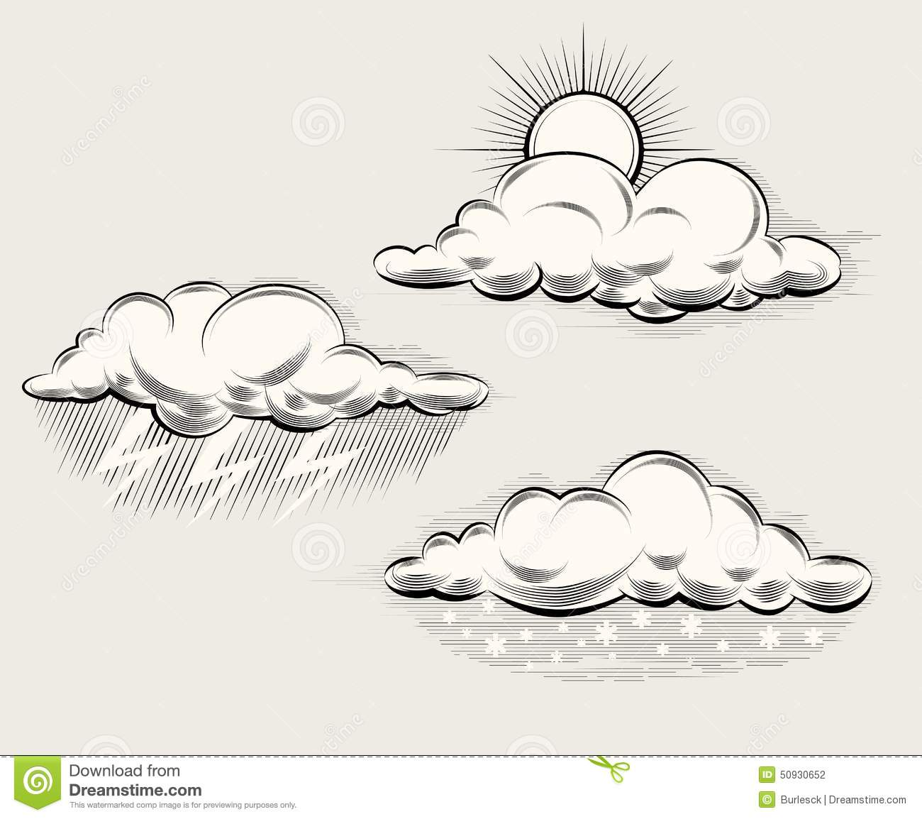 Line Drawing Clouds : Engraving weather sun behind cloud rain and stock vector