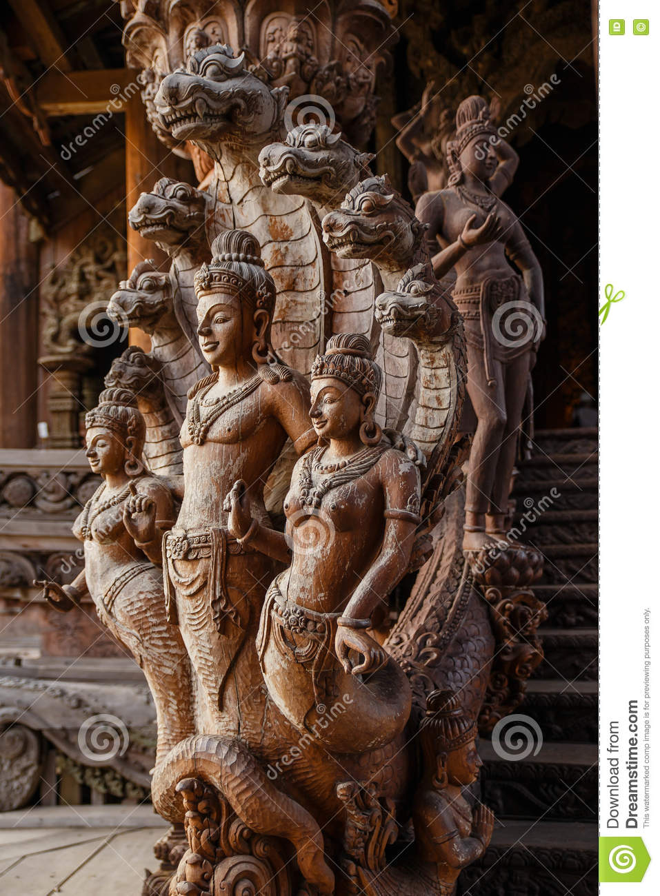 Engraving Wooden Angels Sculpture In Sanctuary Of The Truth At ...