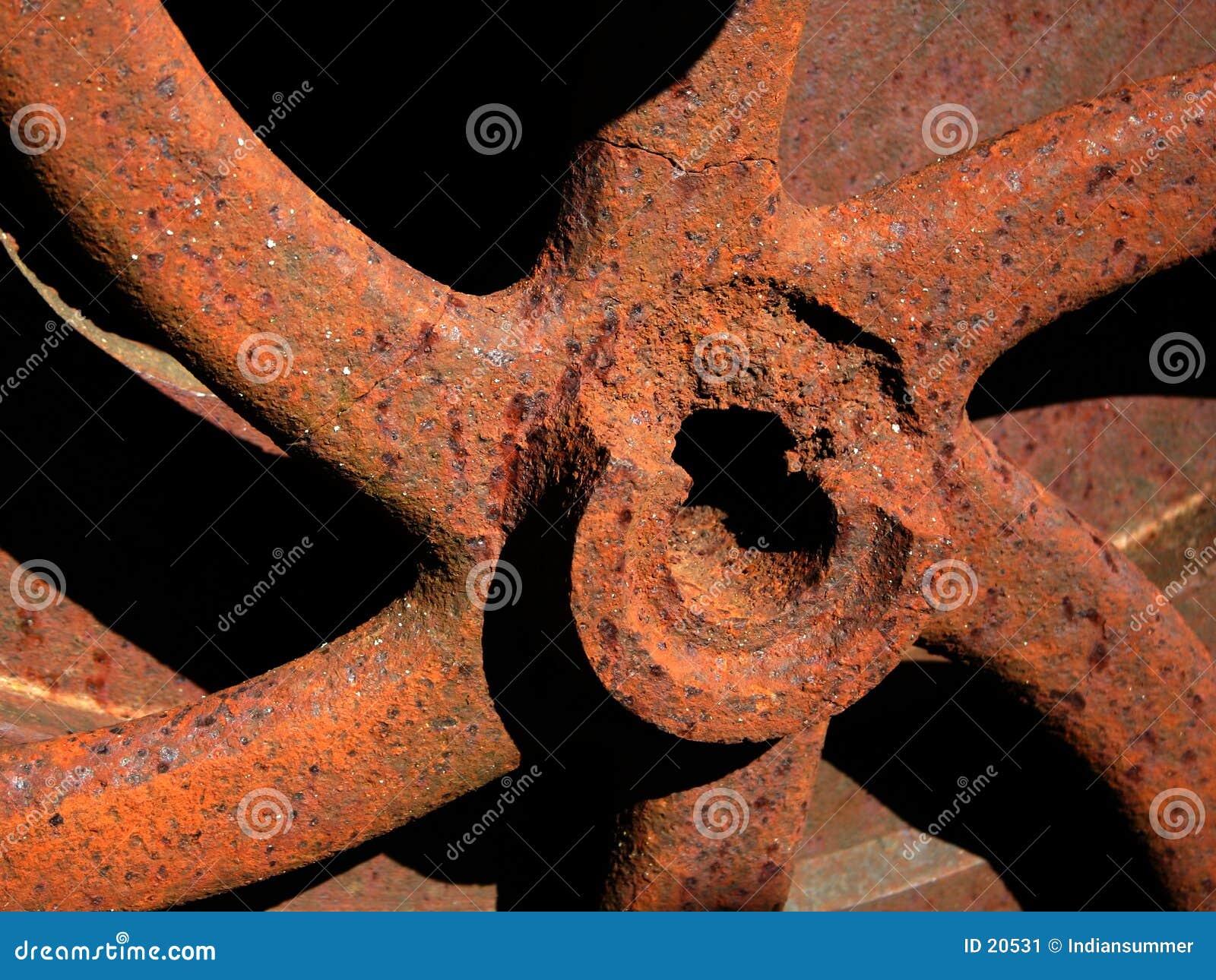 Engrenagem oxidada velha. Detalhe.