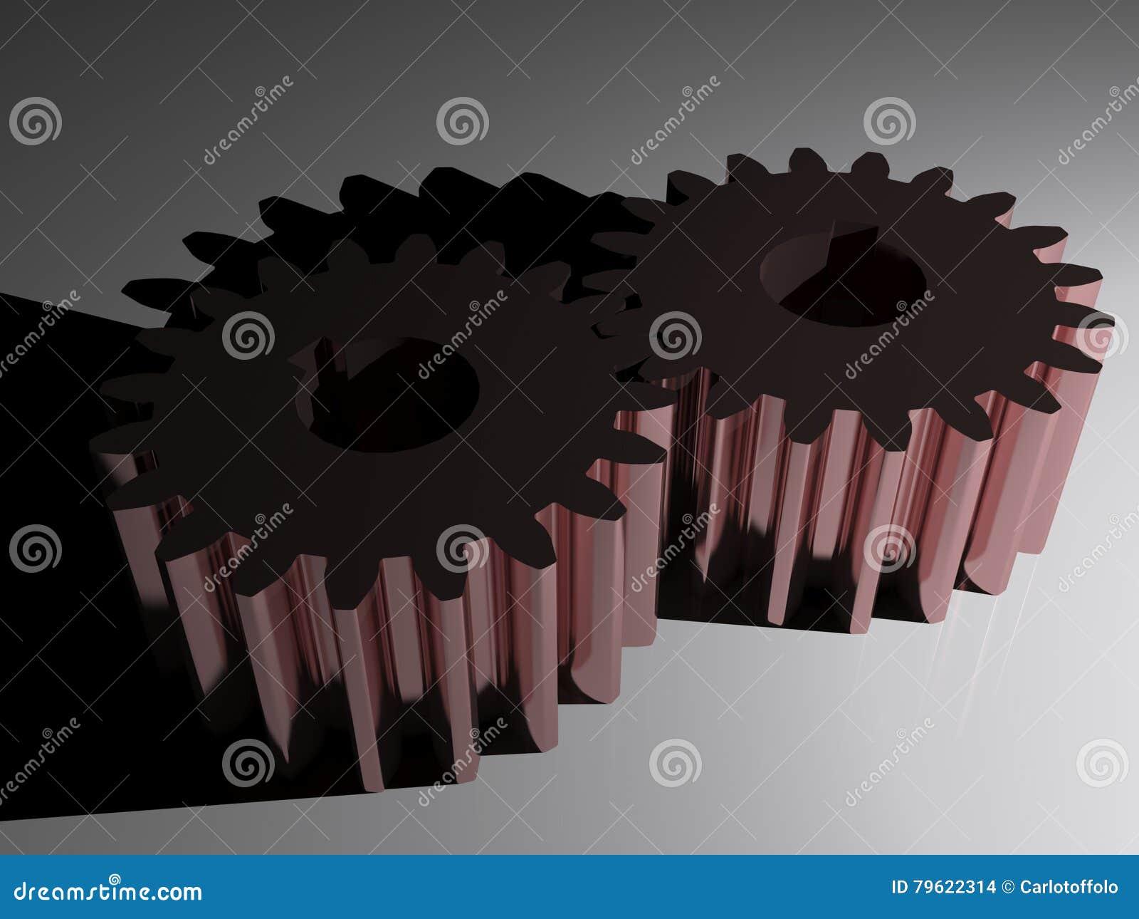 Engrenagens de acoplamento no aço de quadro