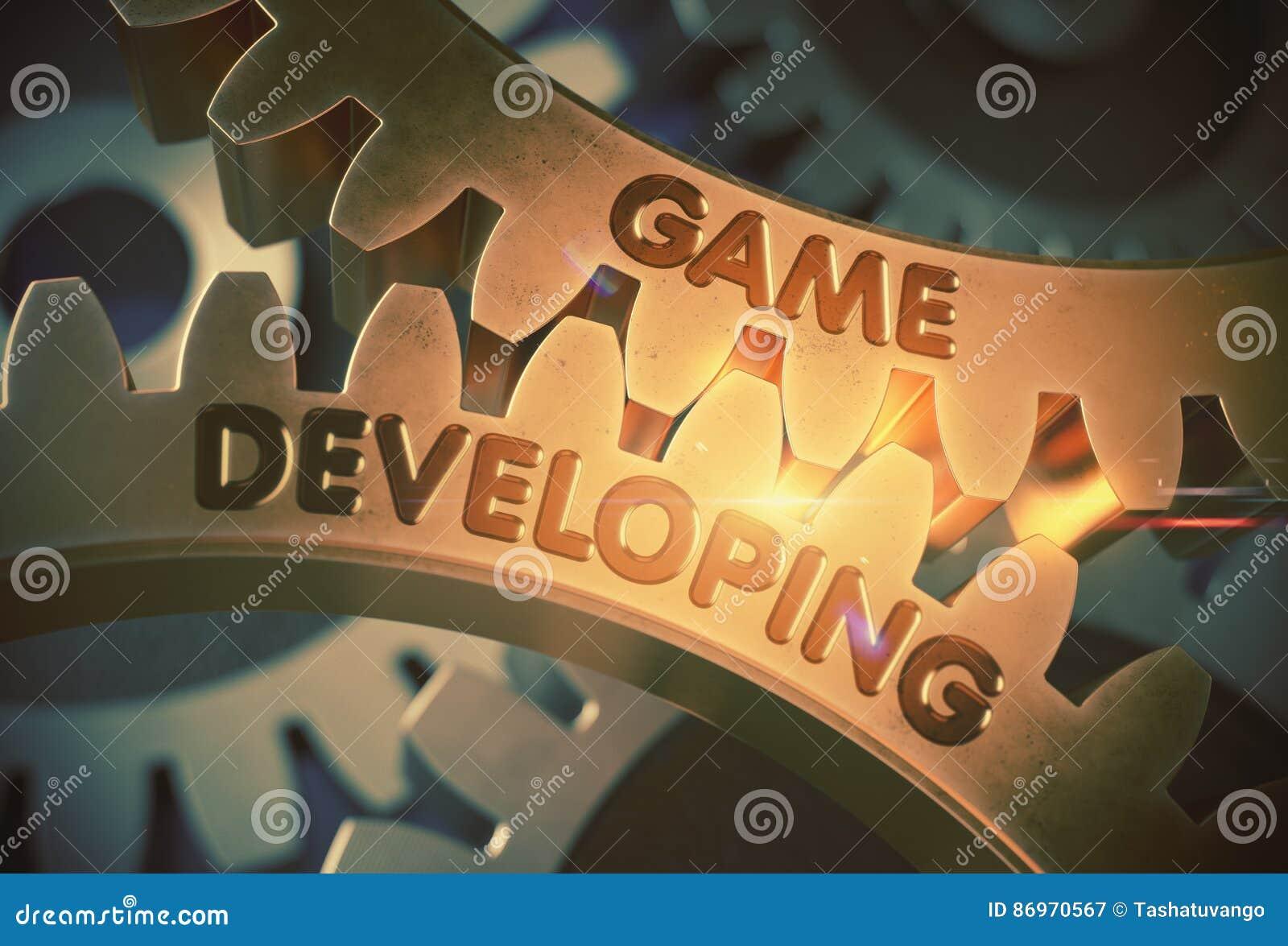 Engrenagens douradas com conceito tornando-se do jogo ilustração 3D
