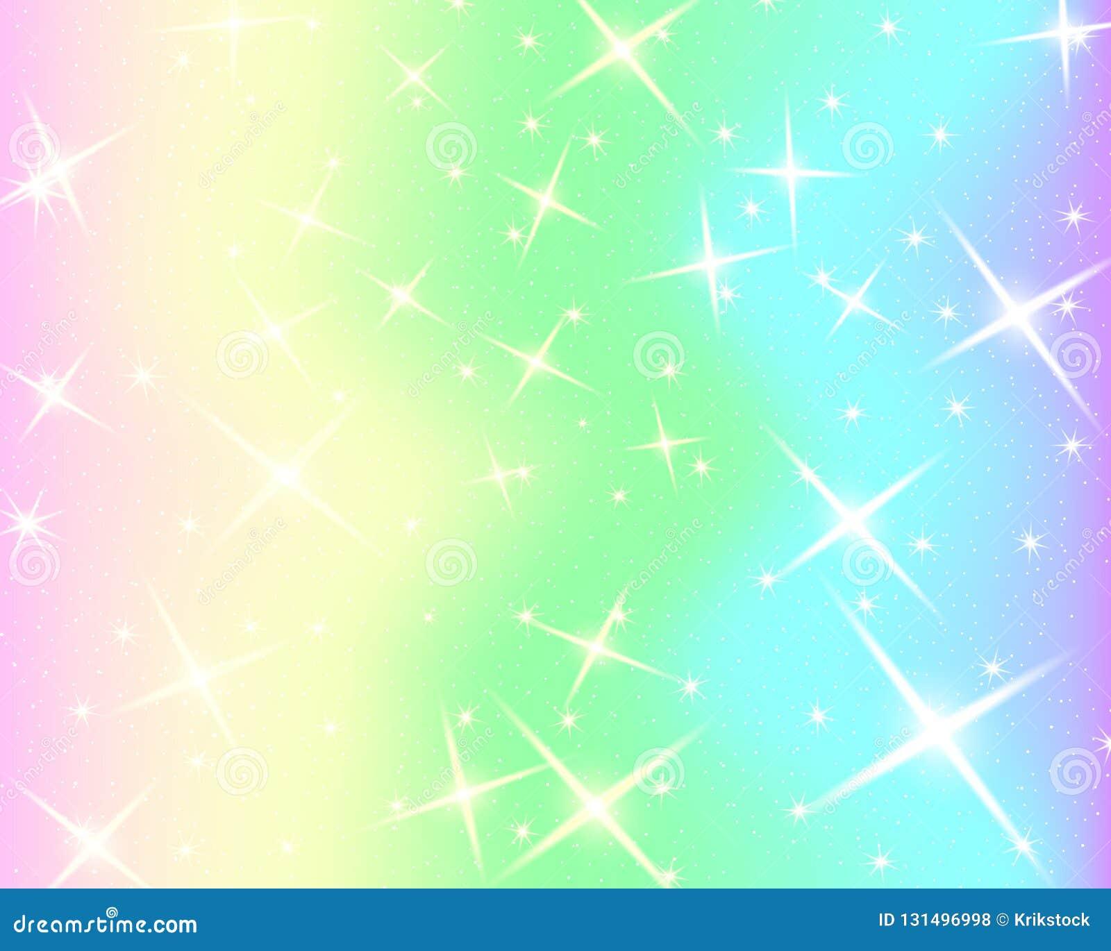 Enhörningregnbågebakgrund Holographic himmel i pastellfärgad färg Ljus sjöjungfrumodell i prinsessafärger också vektor för coreld