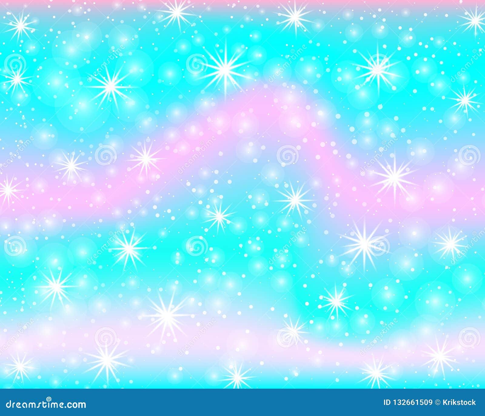 Enhörningregnbågebakgrund Sjöjungfrumodell i prinsessafärger Färgrik bakgrund för fantasi med regnbågeingreppet