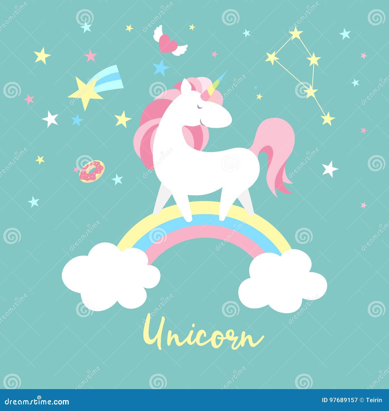 Enhörningtecken - uppsättning Gullig magisk samling med enhörningen, regnbågen, hjärta, fevingar och ballongen Catroon stilvektor