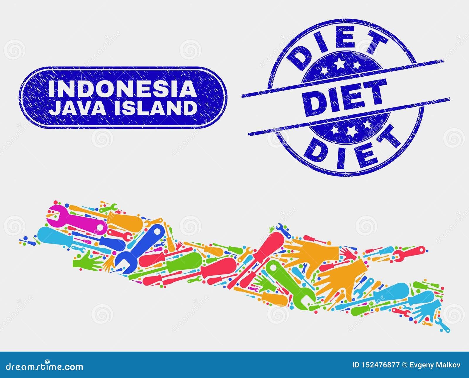 Enheten Java Island Map och Grunge bantar skyddsremsor