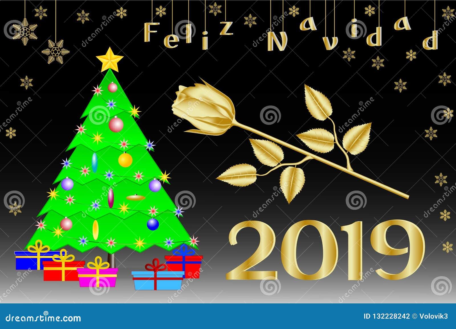 Enhorabuena en la Navidad 2019 en español Árbol de navidad con una estrella cinco-acentuada de oro, regalos y una rosa de oro